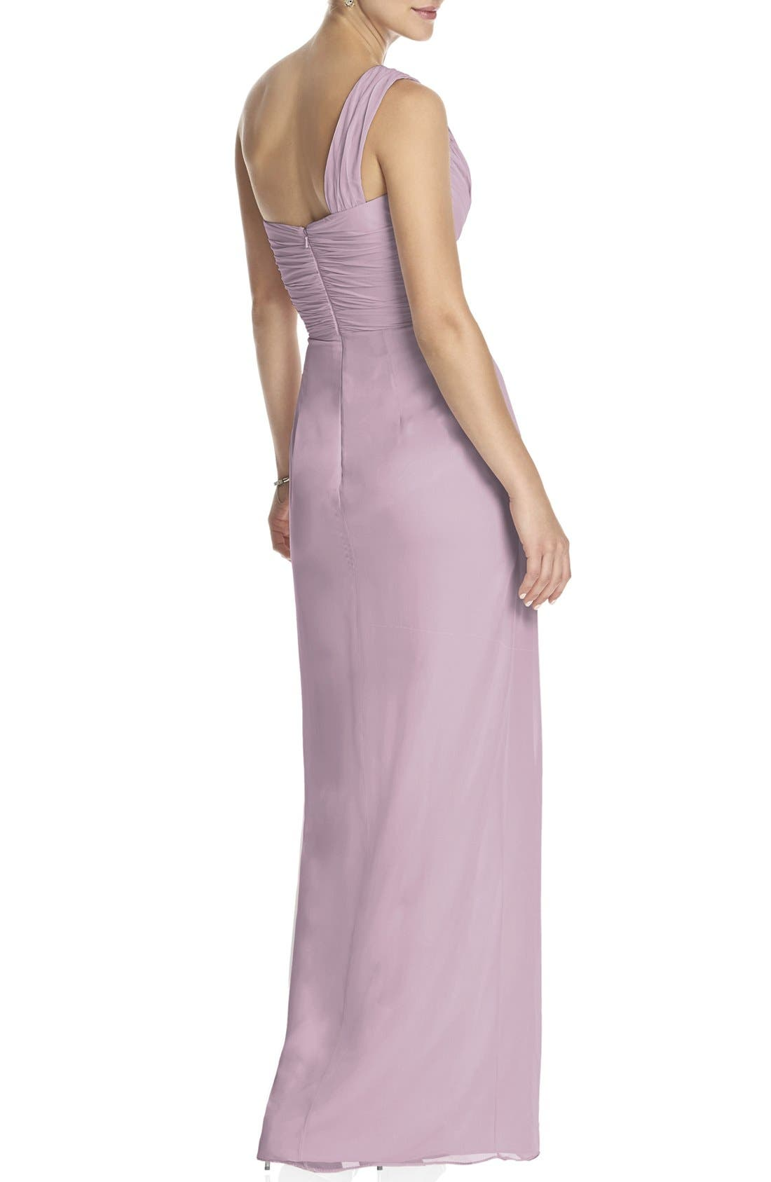 DessyCollection One-Shoulder Draped Chiffon Gown,                             Alternate thumbnail 2, color,                             654