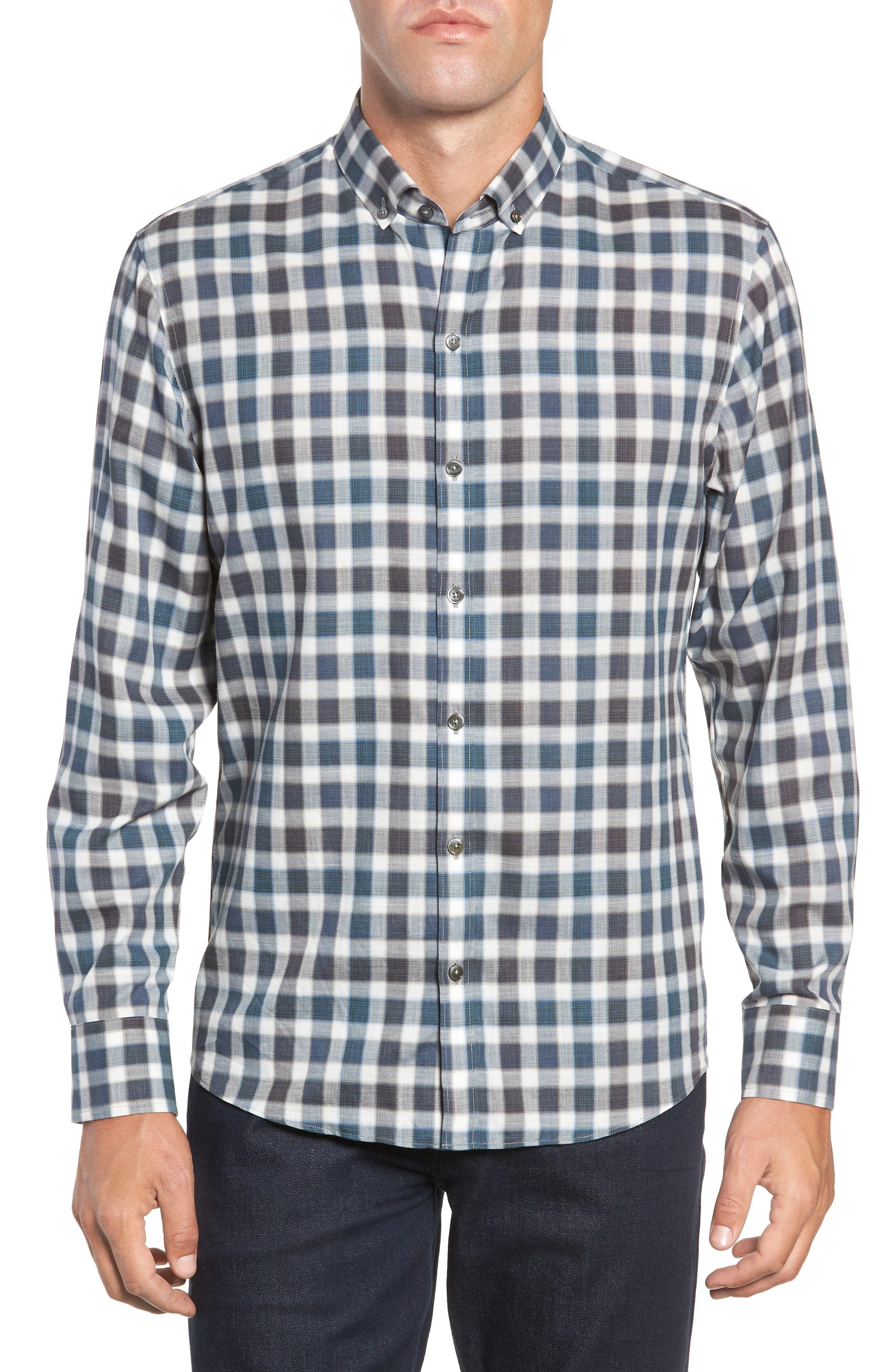 Buffa Plaid Flannel Sport Shirt,                         Main,                         color, DARK TEAL