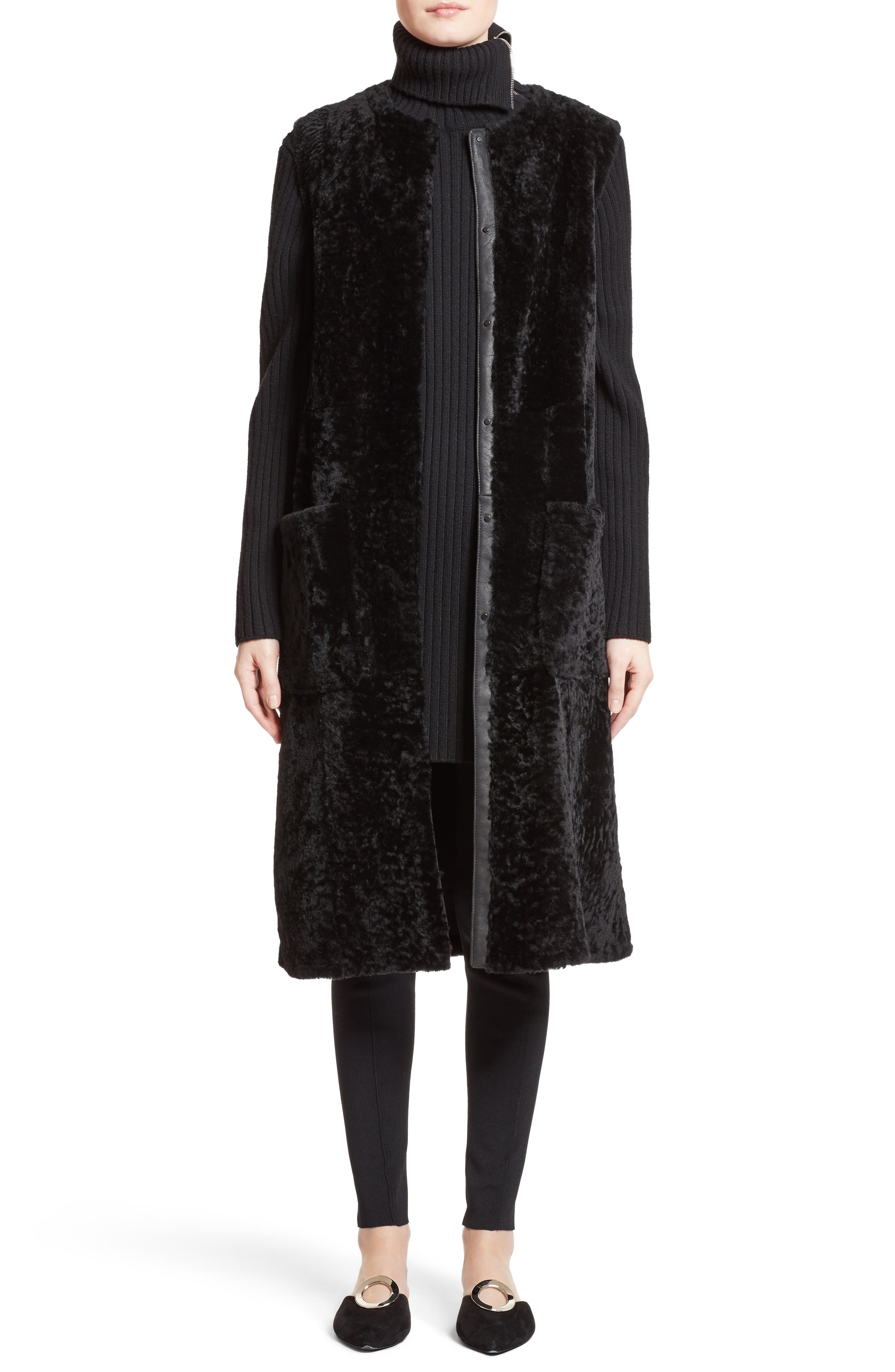 Wool & Cashmere Blend Turtleneck Dress,                             Alternate thumbnail 6, color,                             001