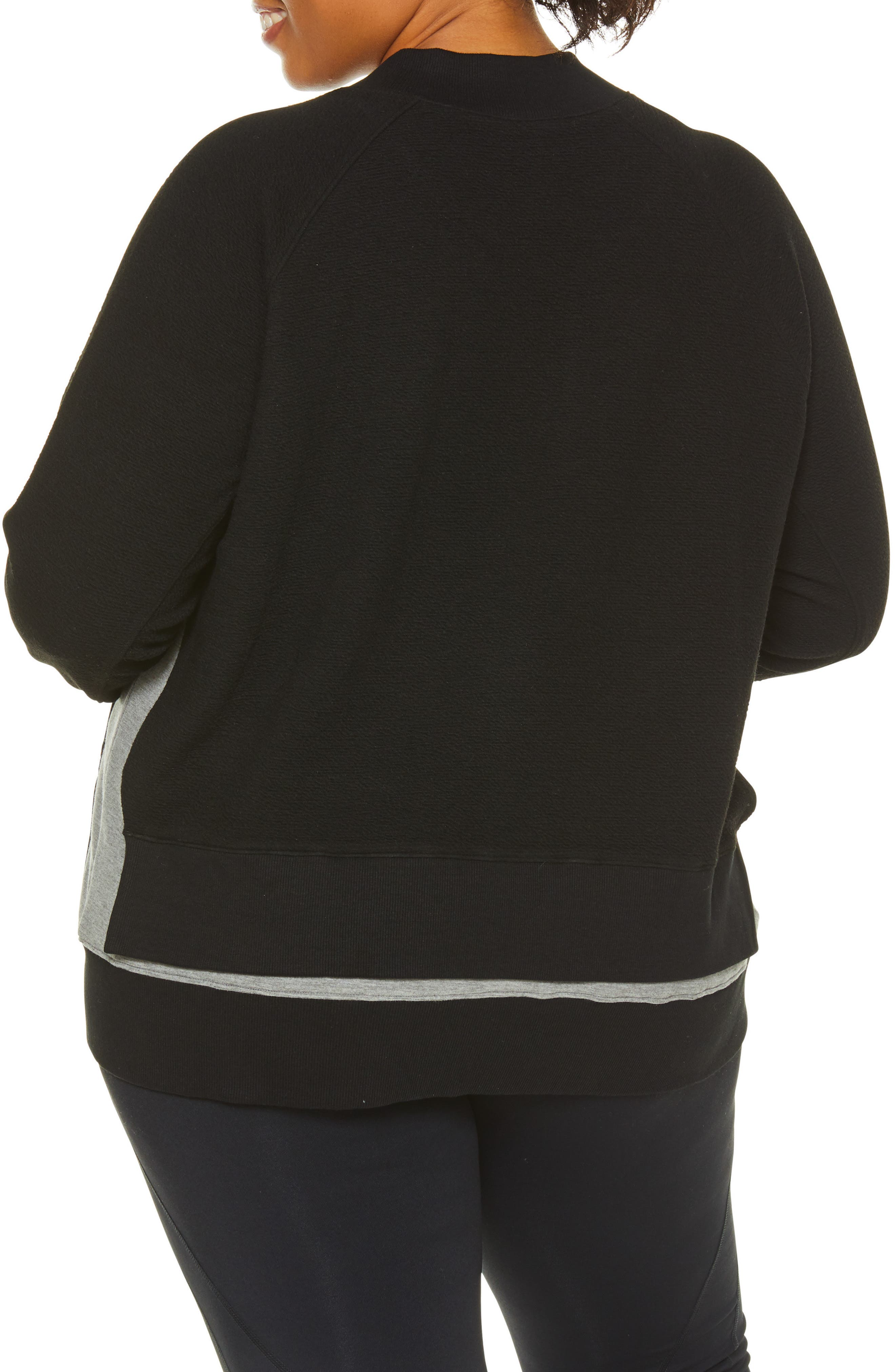 Sublime Double Layer Jacket,                             Alternate thumbnail 2, color,                             BLACK/ GREY HEATHER