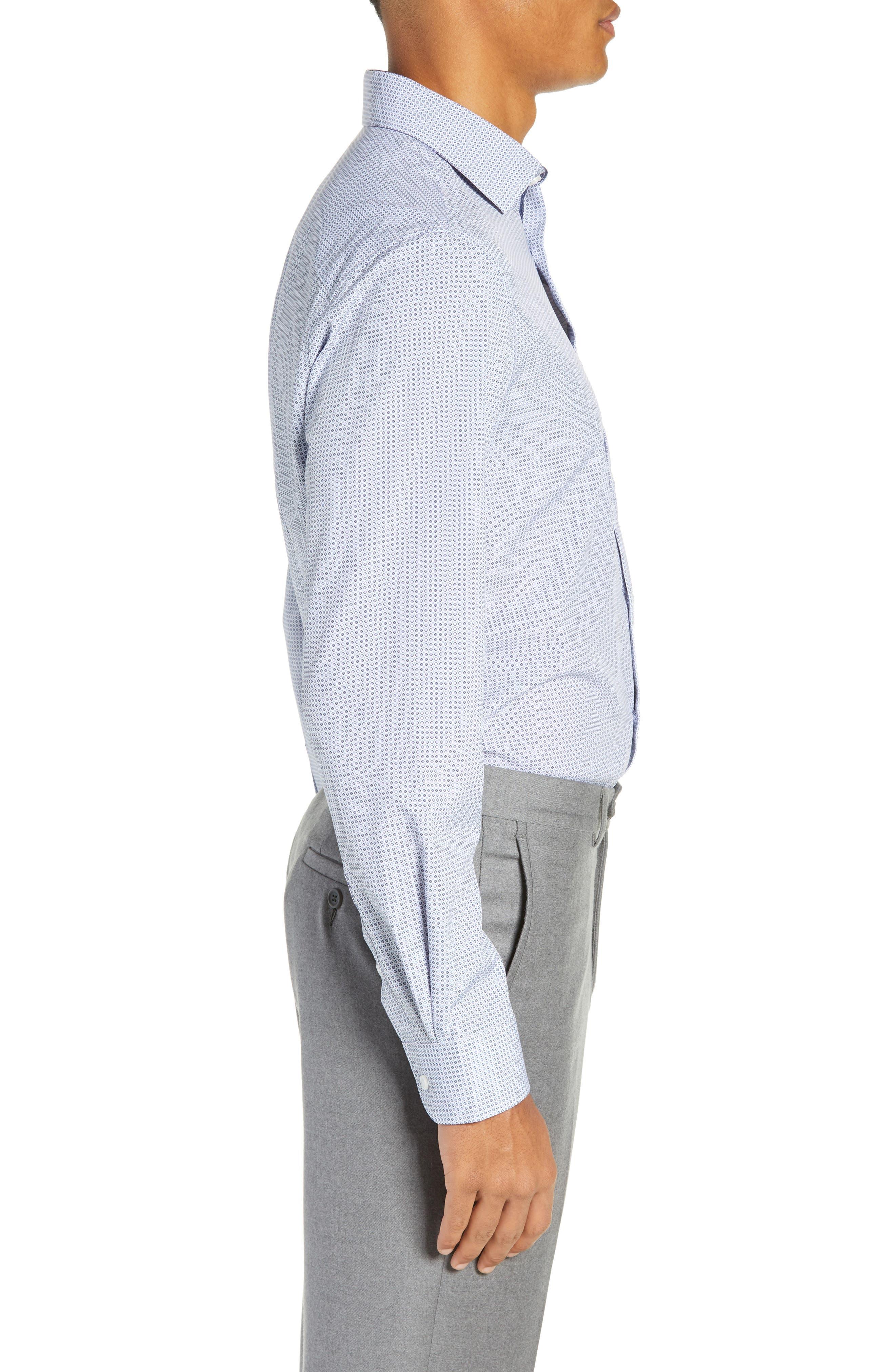 Trim Fit 4-Way Stretch Geometric Dress Shirt,                             Alternate thumbnail 4, color,                             400