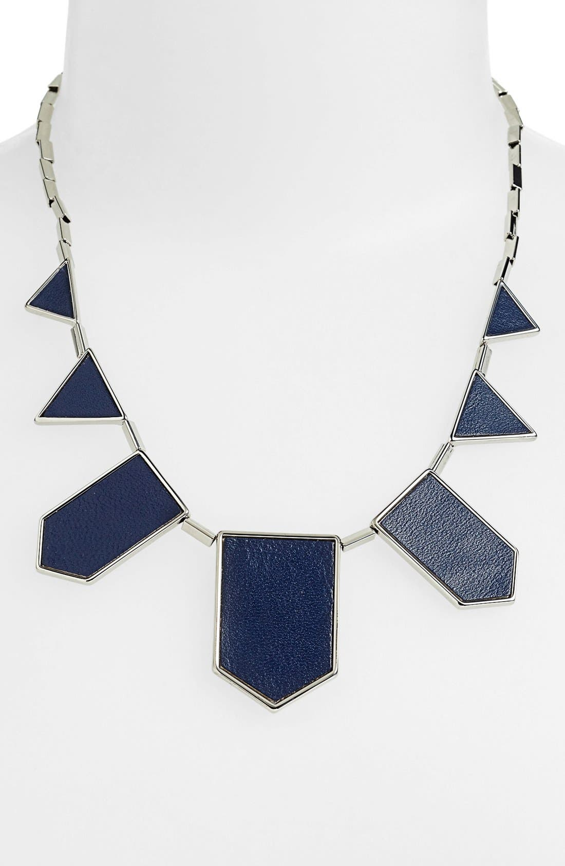 Leather Station Necklace,                             Main thumbnail 8, color,