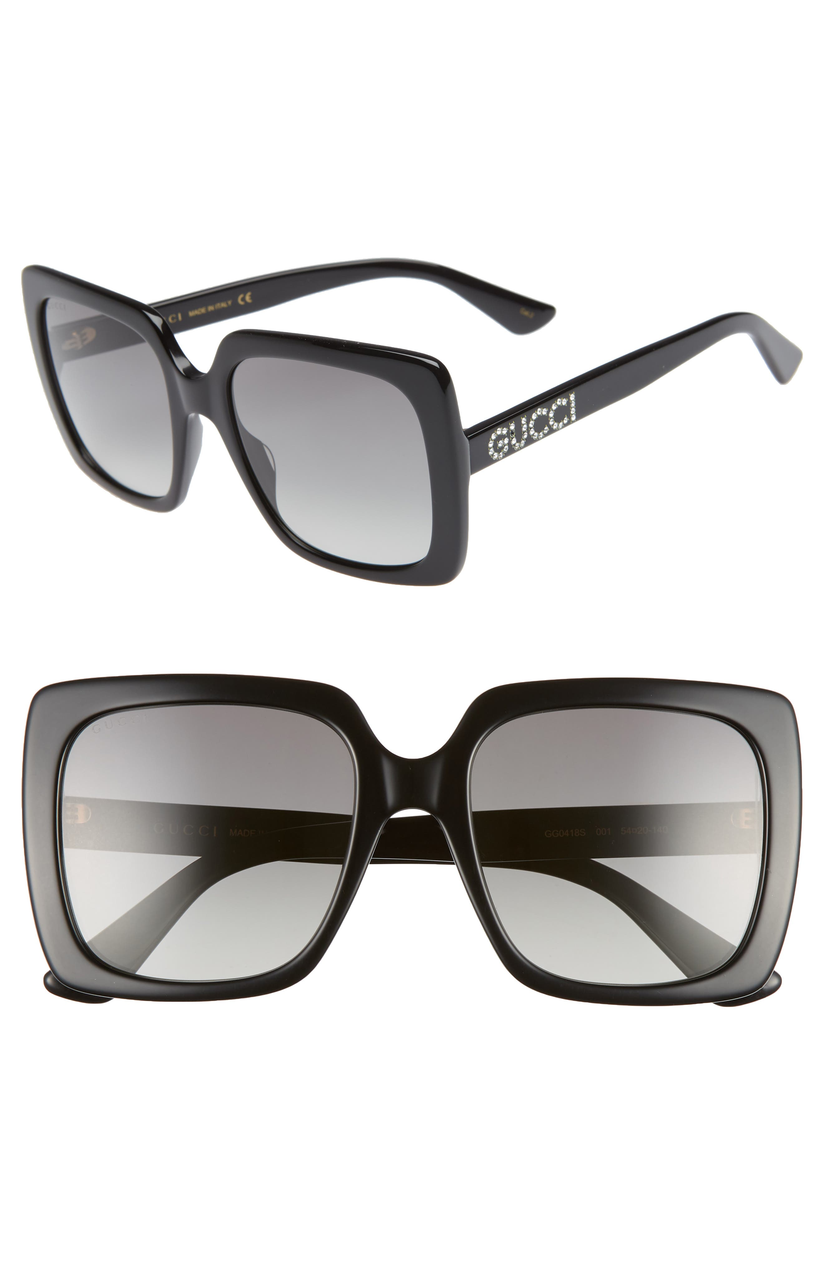 GUCCI 54mm Gradient Square Sunglasses, Main, color, BLACK/ CRYSTAL/ GREY GRADIENT