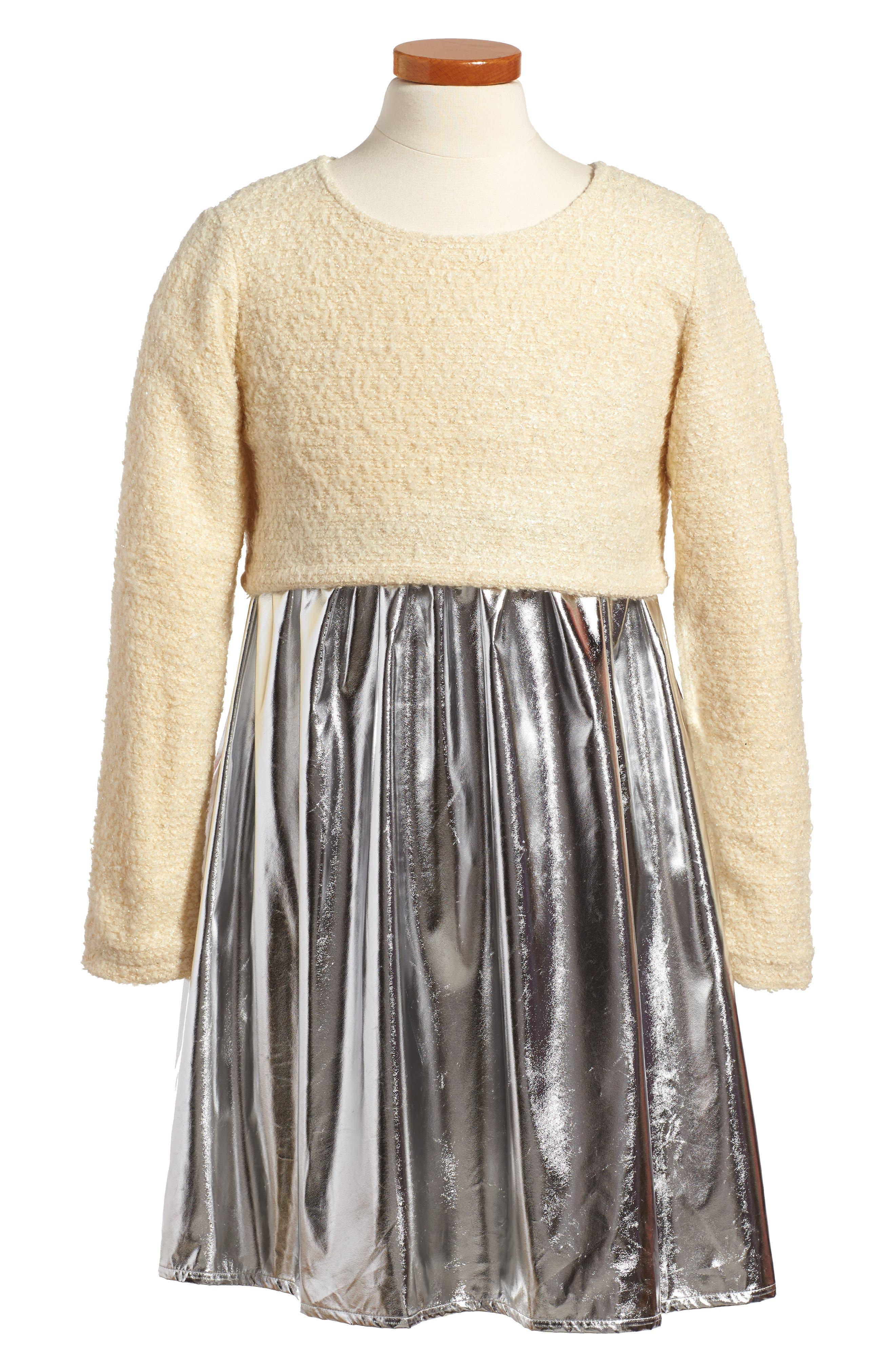 Isabella Mixed Media Dress,                             Main thumbnail 1, color,                             049
