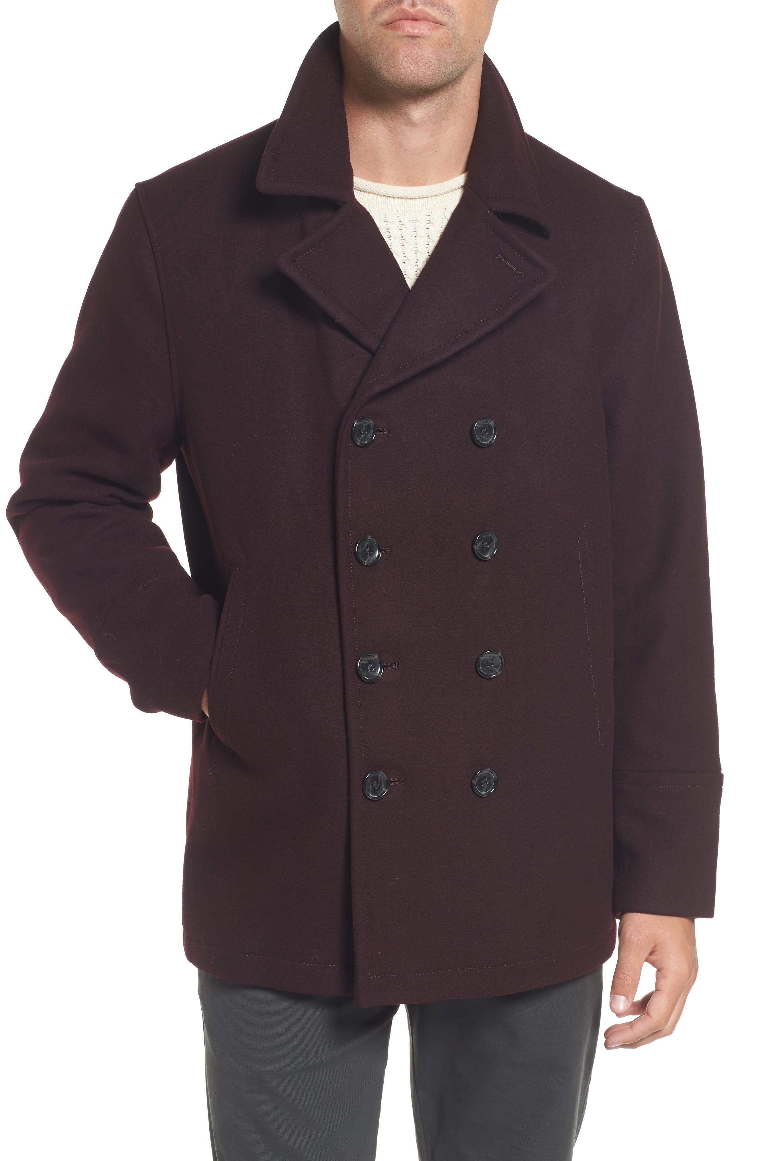 Wool Blend Double Breasted Peacoat,                             Main thumbnail 6, color,