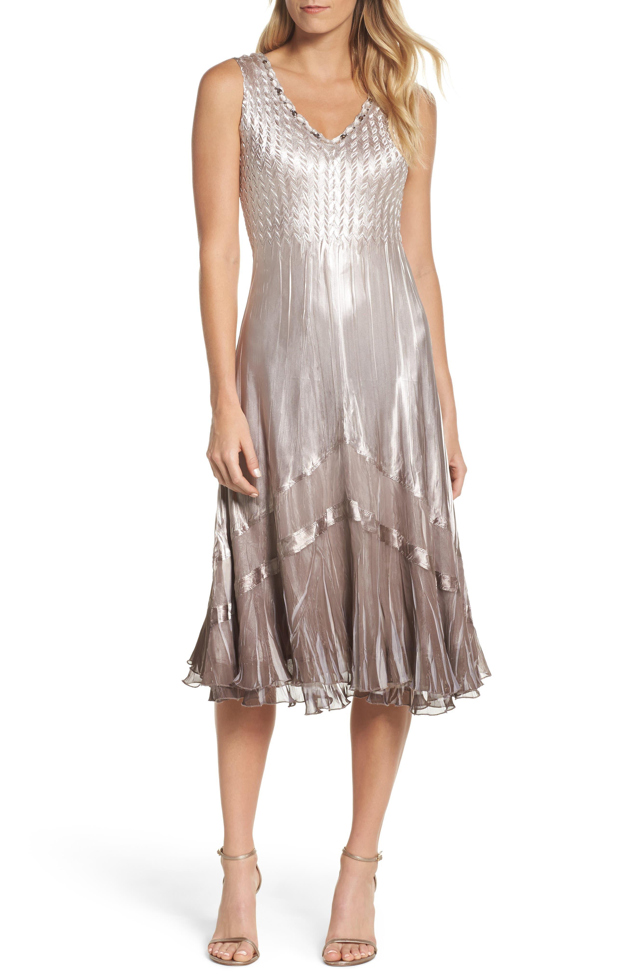 Beaded Charmeuse & Chiffon Midi Dress with Jacket,                             Alternate thumbnail 3, color,                             057