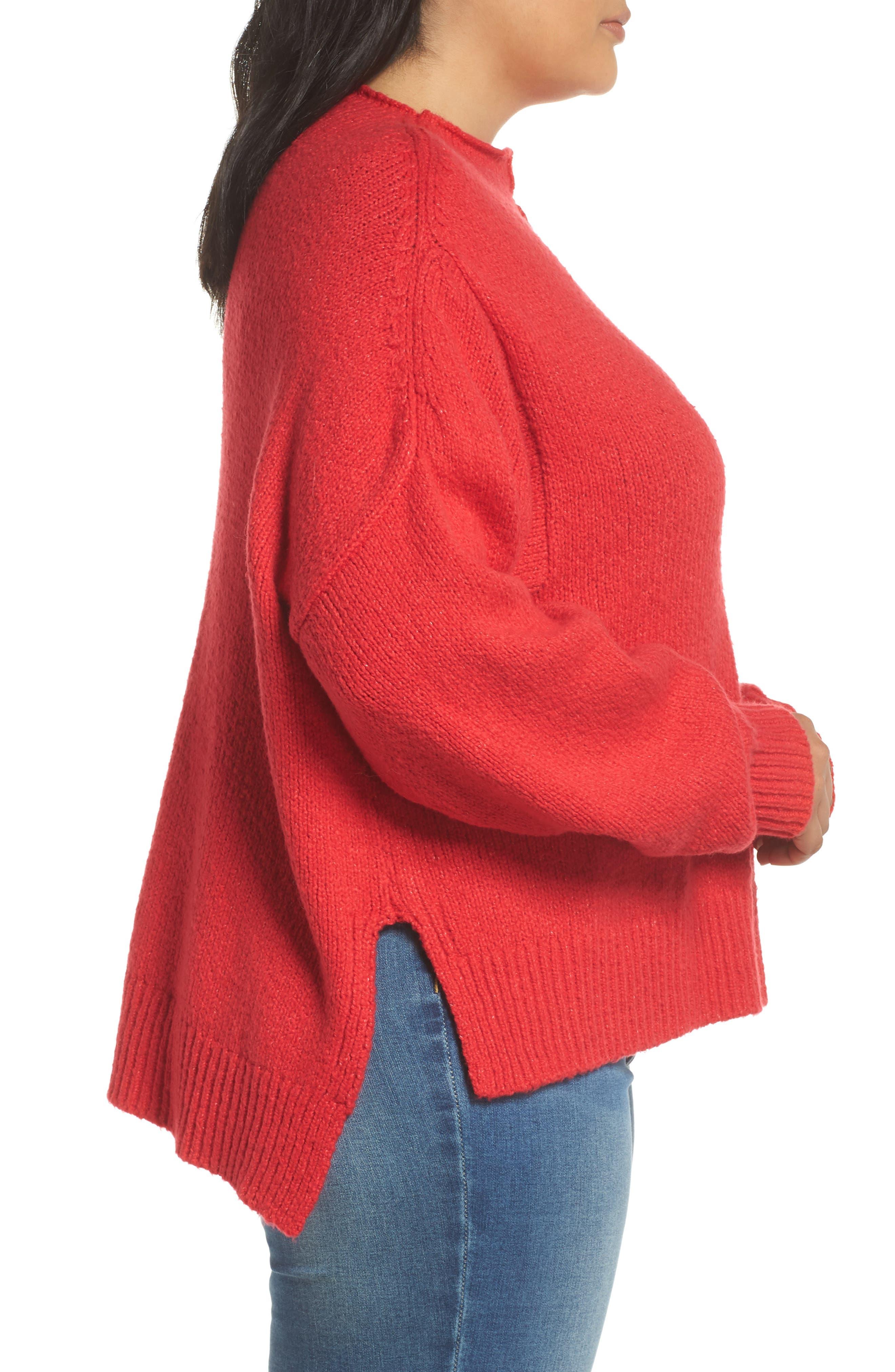 Side Slit Sweater,                             Alternate thumbnail 3, color,                             RED LIPSTICK