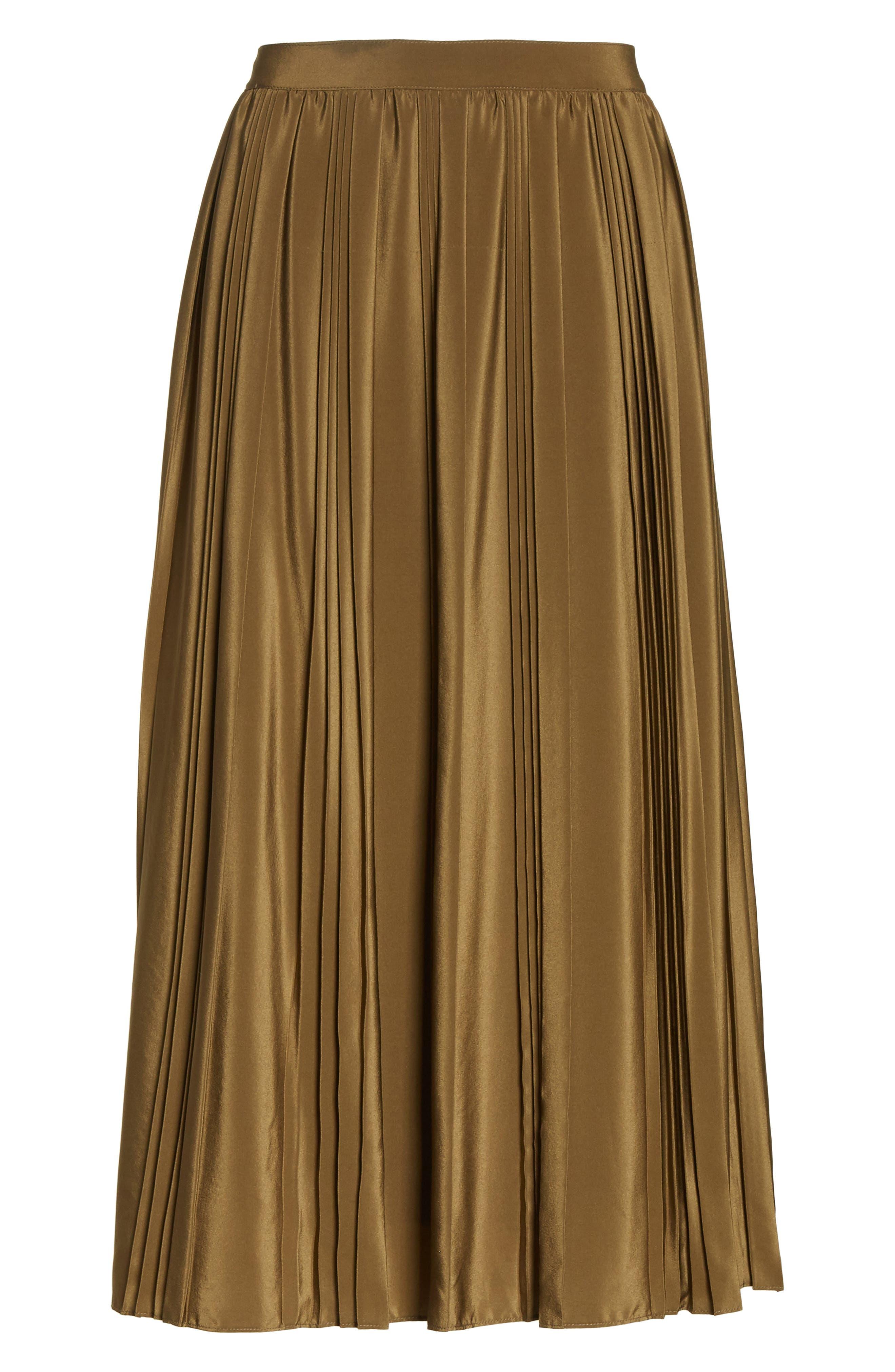 Pleated Silk Skirt,                             Alternate thumbnail 6, color,                             300