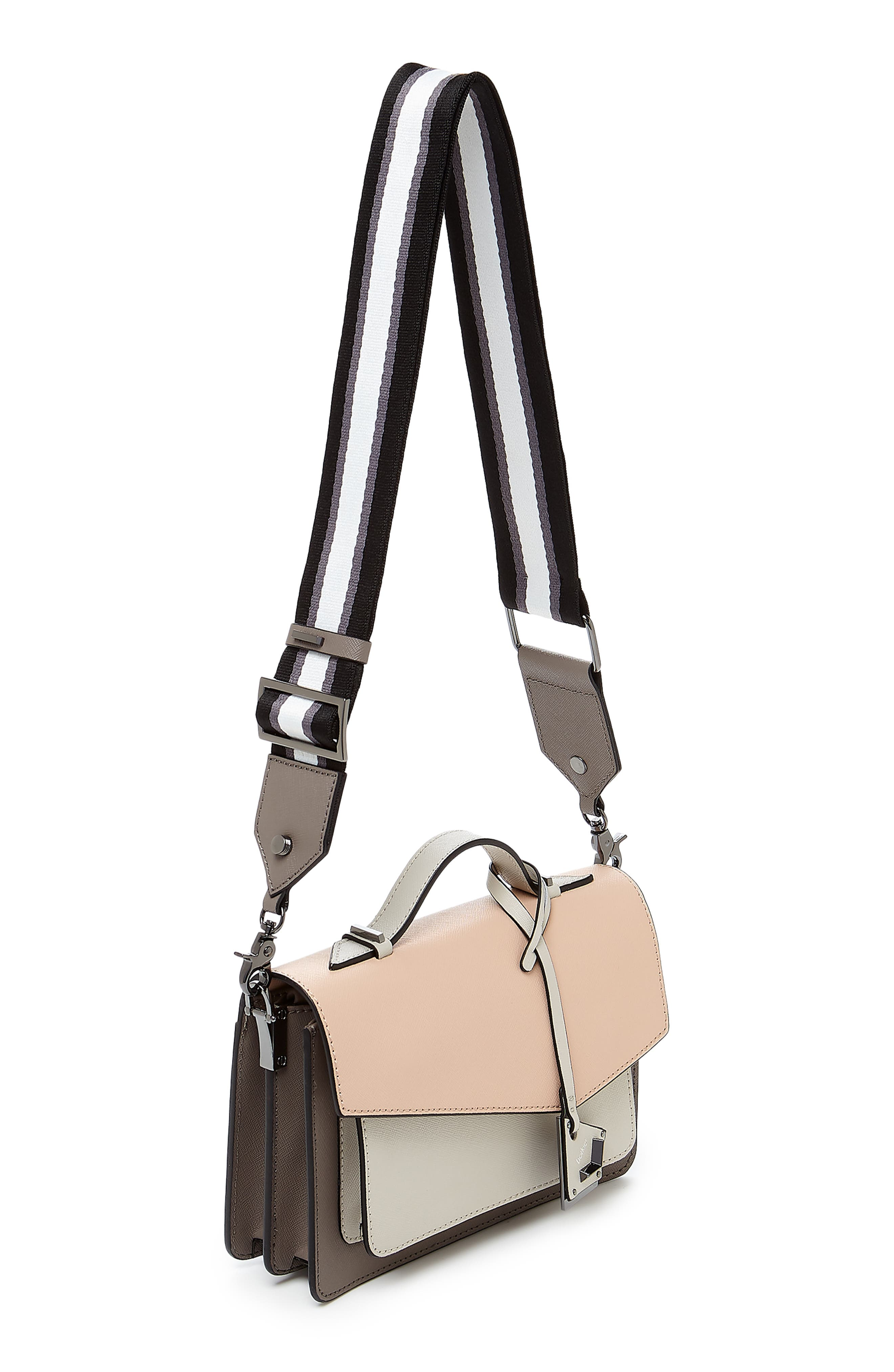 Cobble Hill Calfskin Leather Crossbody Bag,                             Alternate thumbnail 5, color,                             NUDE COMBO