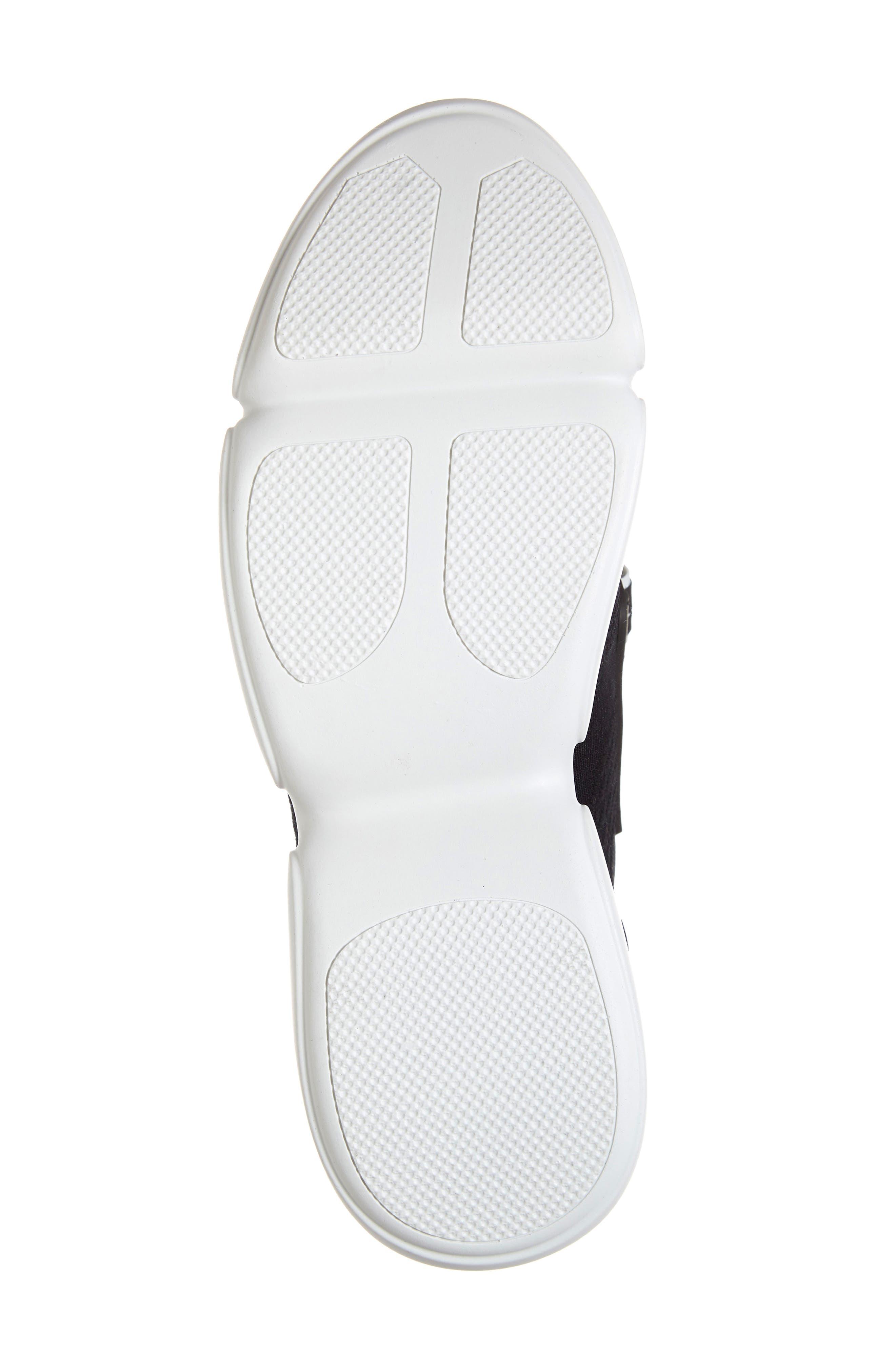 Logo Strap Knit Sneaker,                             Alternate thumbnail 6, color,                             BLACK