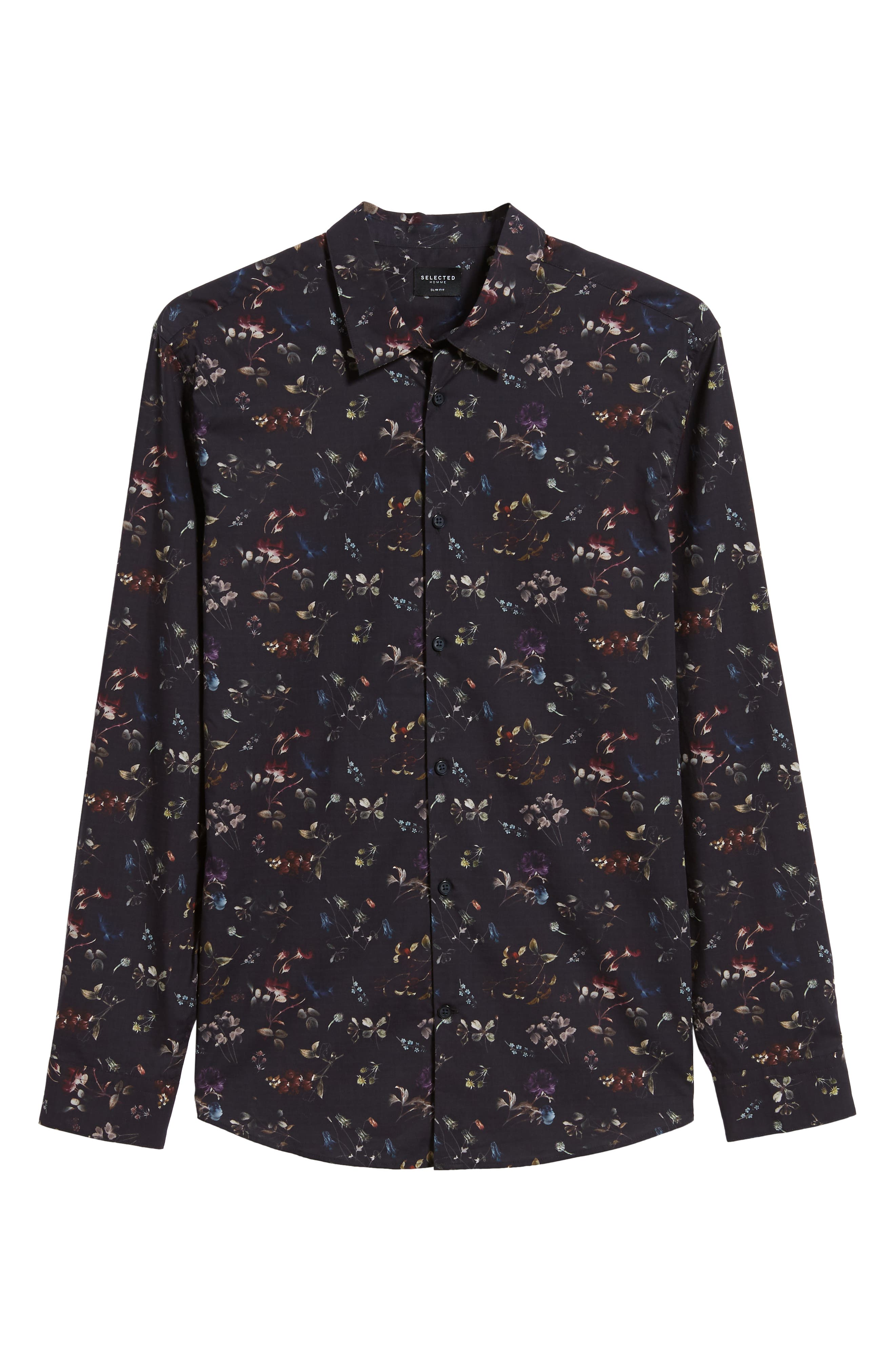 Primus Slim Fit Floral Print Sport Shirt,                             Alternate thumbnail 5, color,                             DARK NAVY