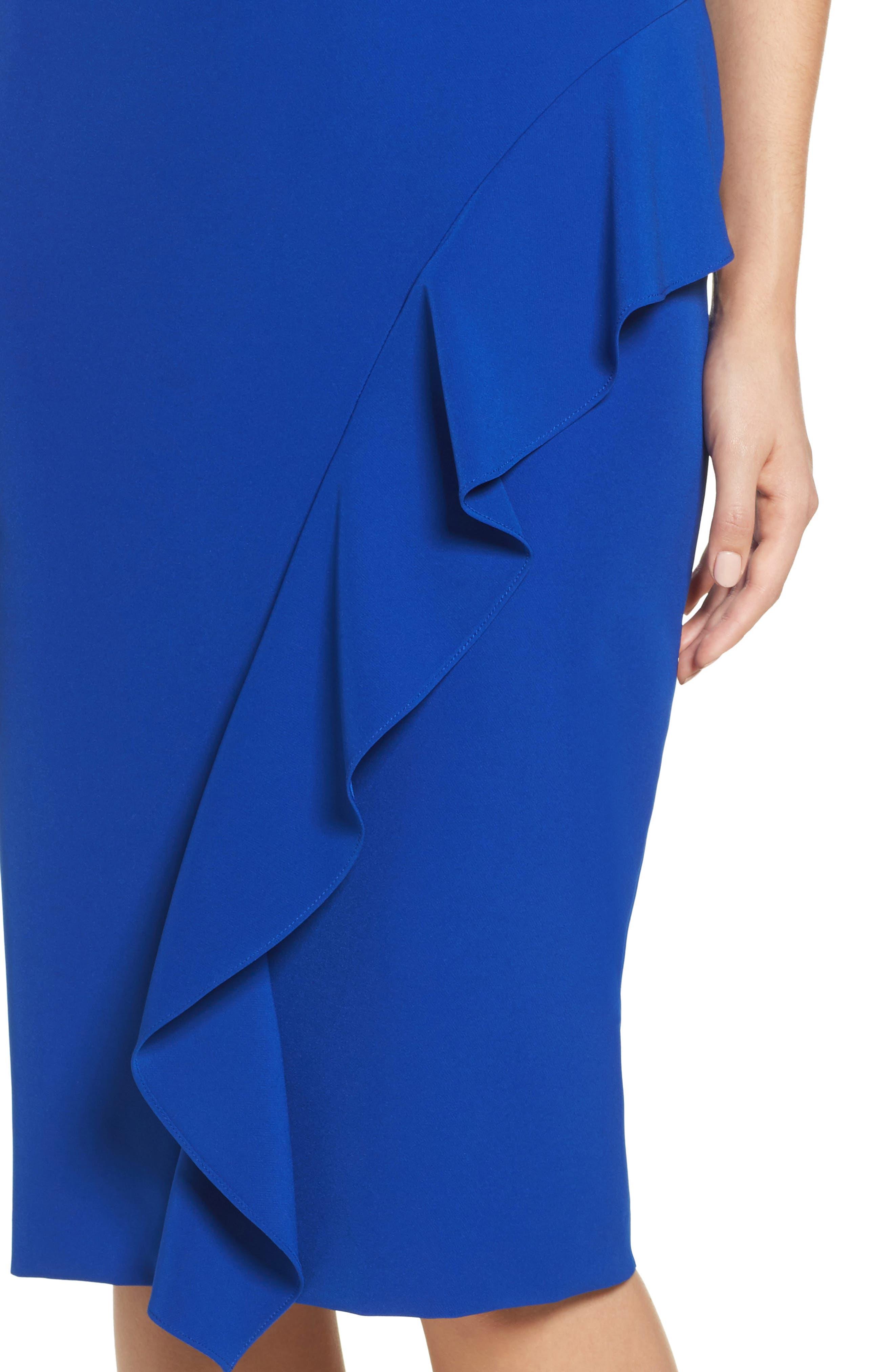 Ruffle Crepe Sheath Dress,                             Alternate thumbnail 4, color,                             401