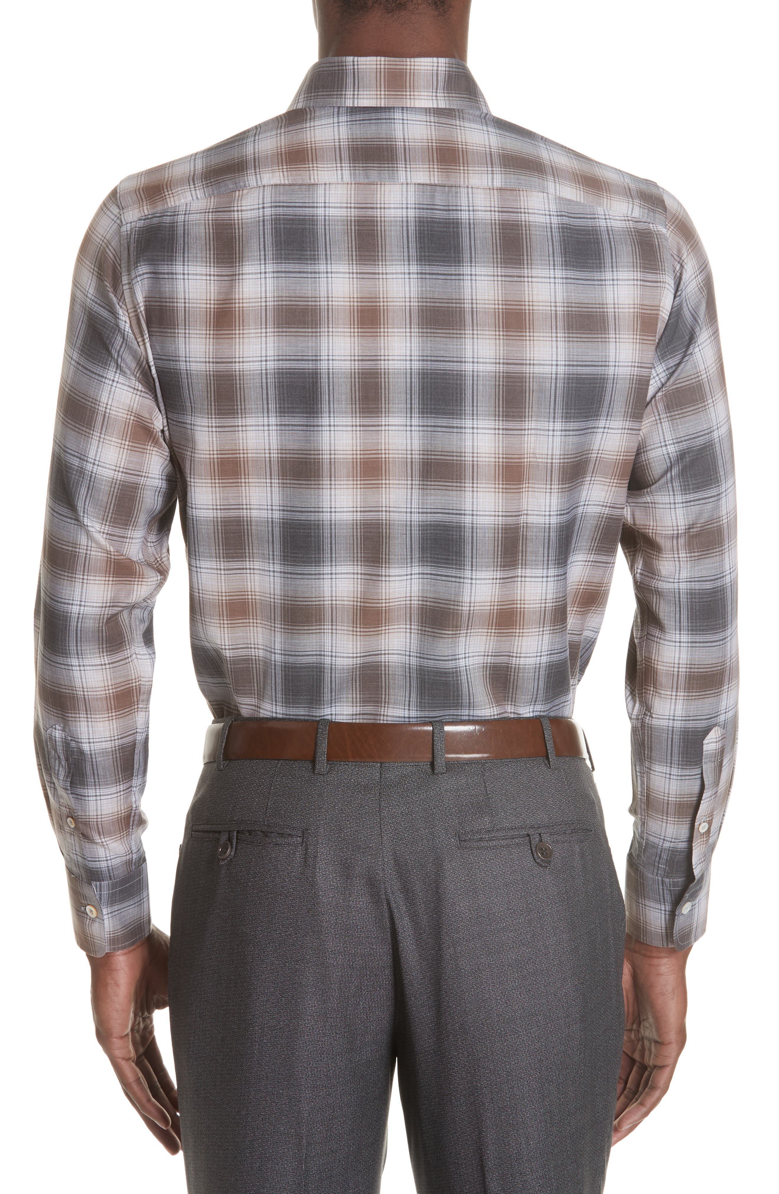 Regular Fit Plaid Dress Shirt,                             Alternate thumbnail 3, color,                             BROWN