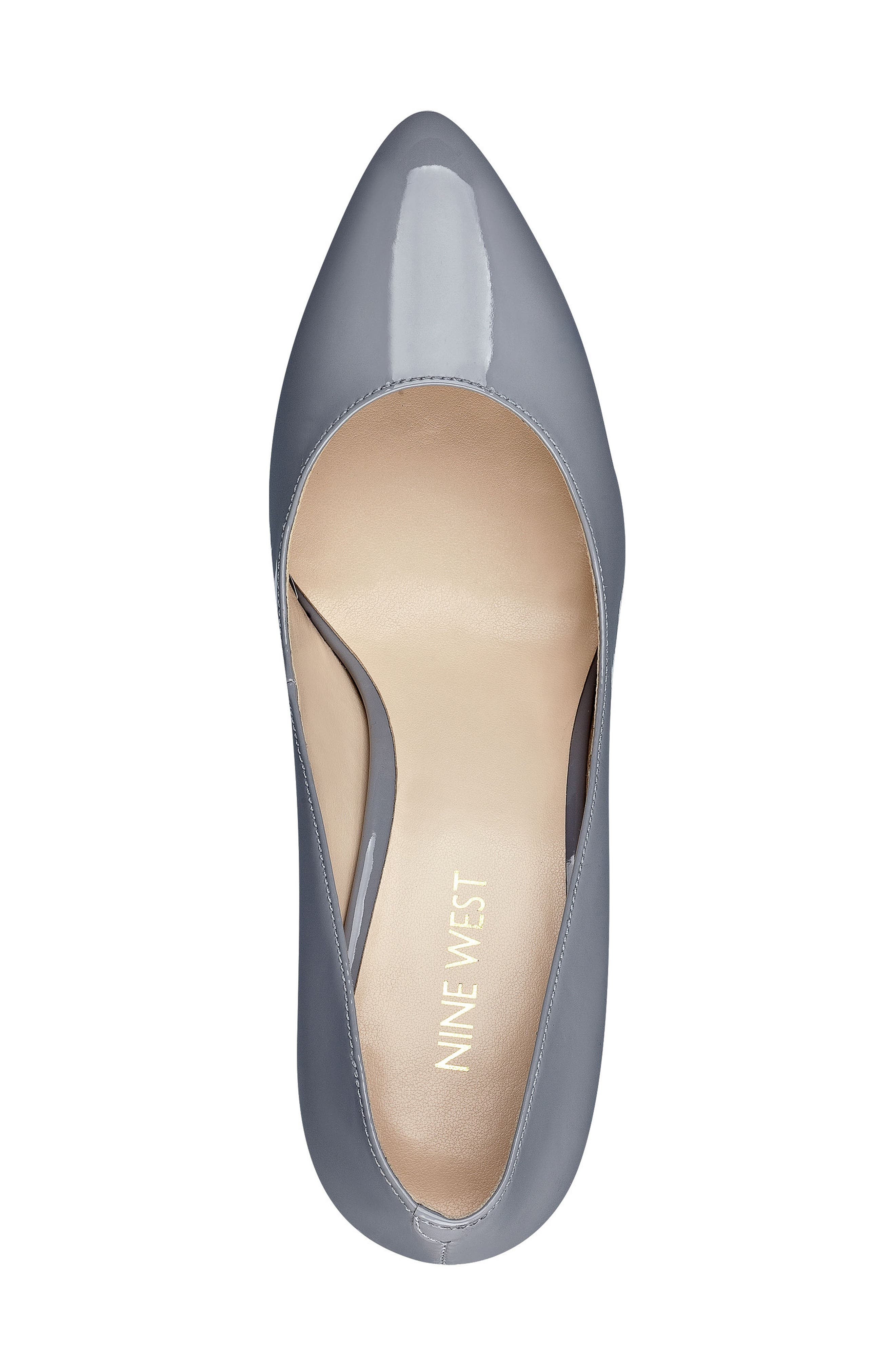 Scheila Pointy Toe Pump,                             Alternate thumbnail 3, color,                             GREY FAUX LEATHER