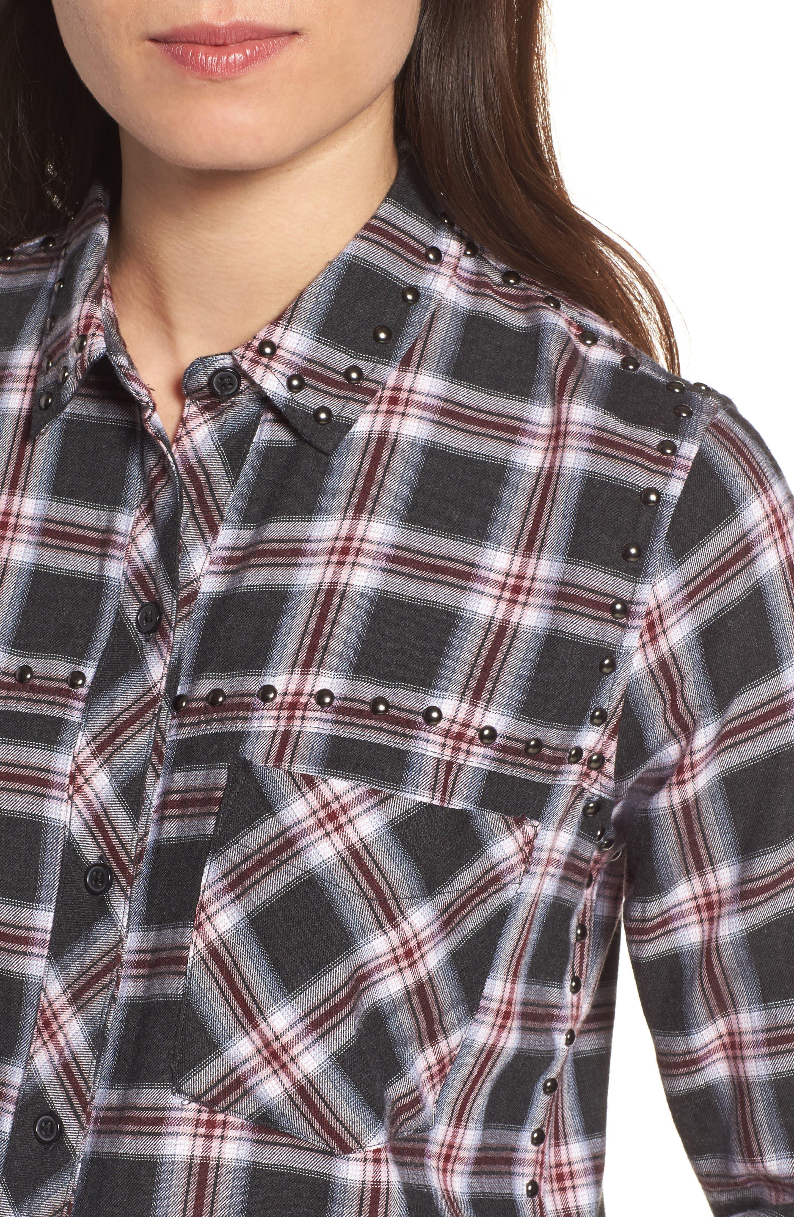Rex Studded Plaid Shirt,                             Alternate thumbnail 4, color,                             006