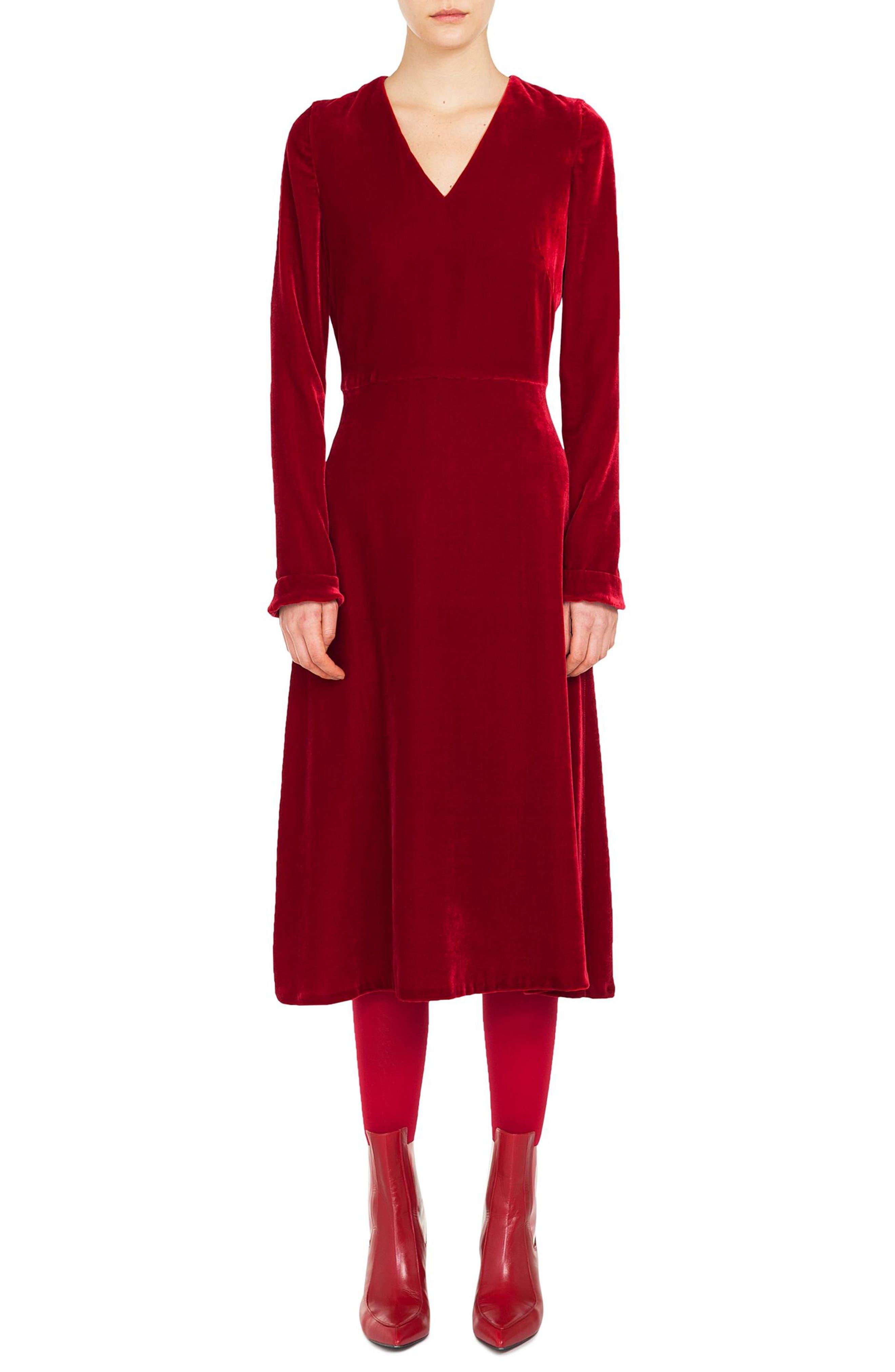 V-Neck Long-Sleeve A-Line Velvet Midi Dress in Ruby