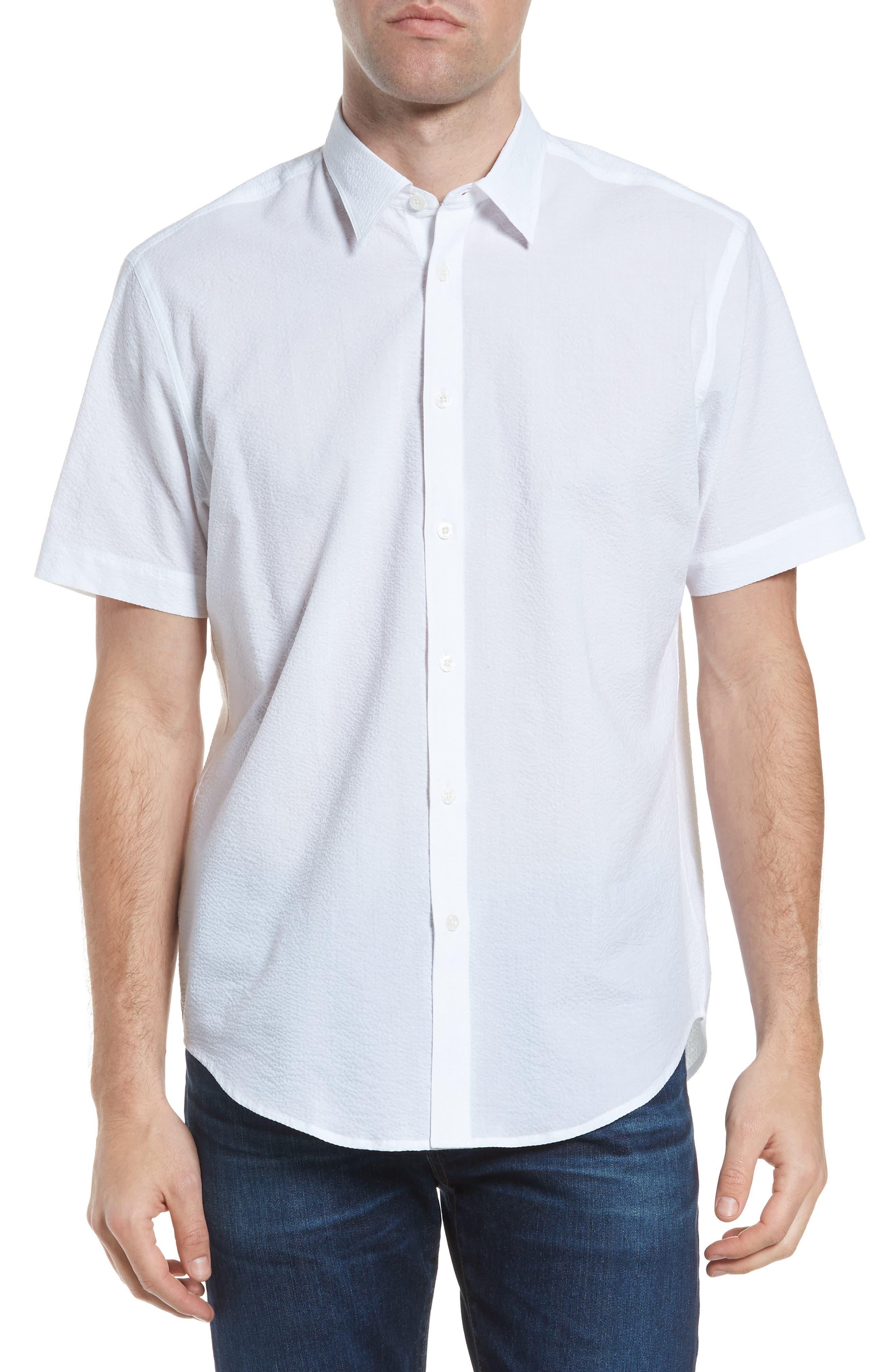Sucker Regular Fit Seersucker Sport Shirt,                         Main,                         color, 100