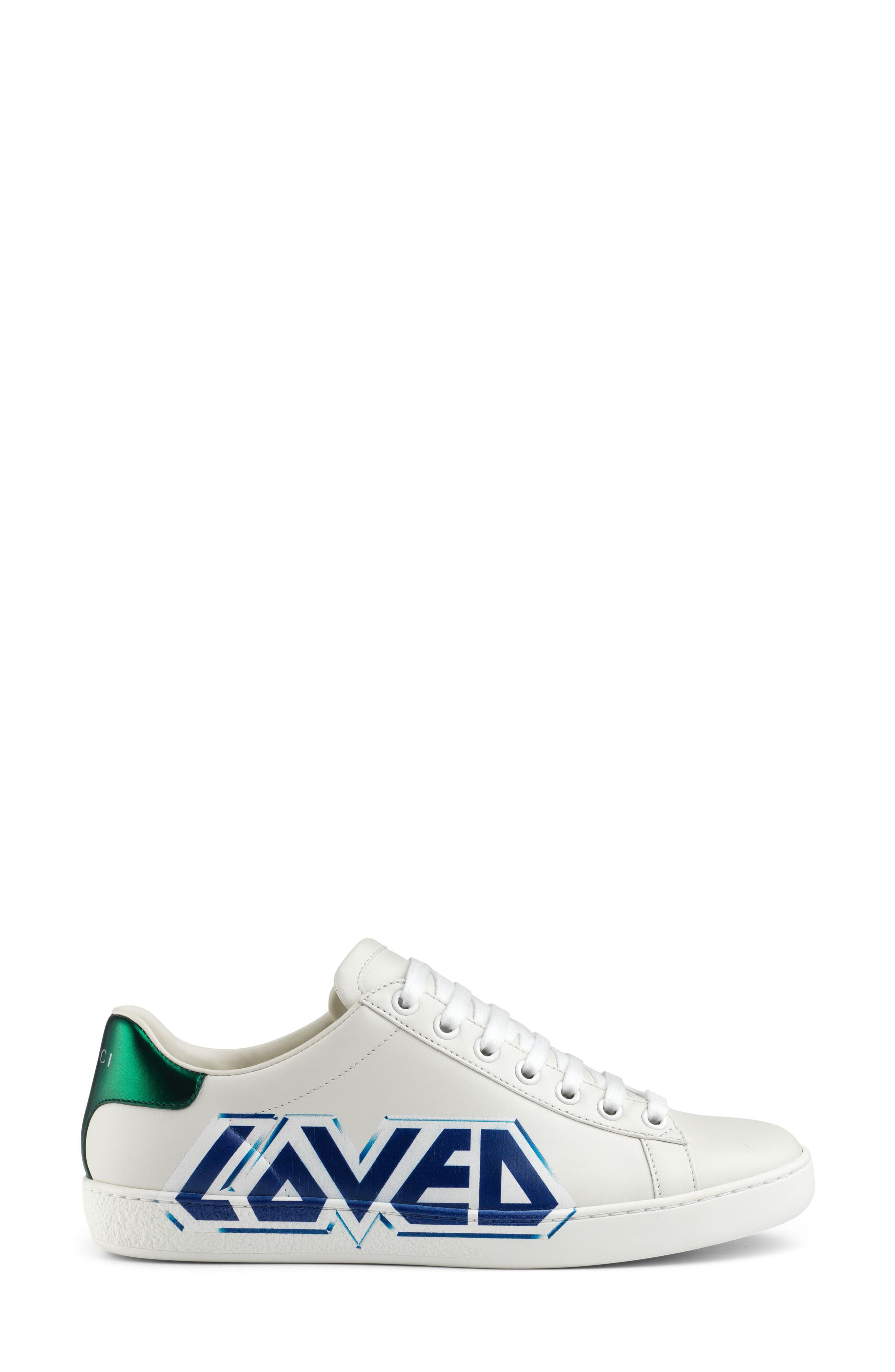 GUCCI,                             New Ace Loved Sneaker,                             Alternate thumbnail 2, color,                             WHITE