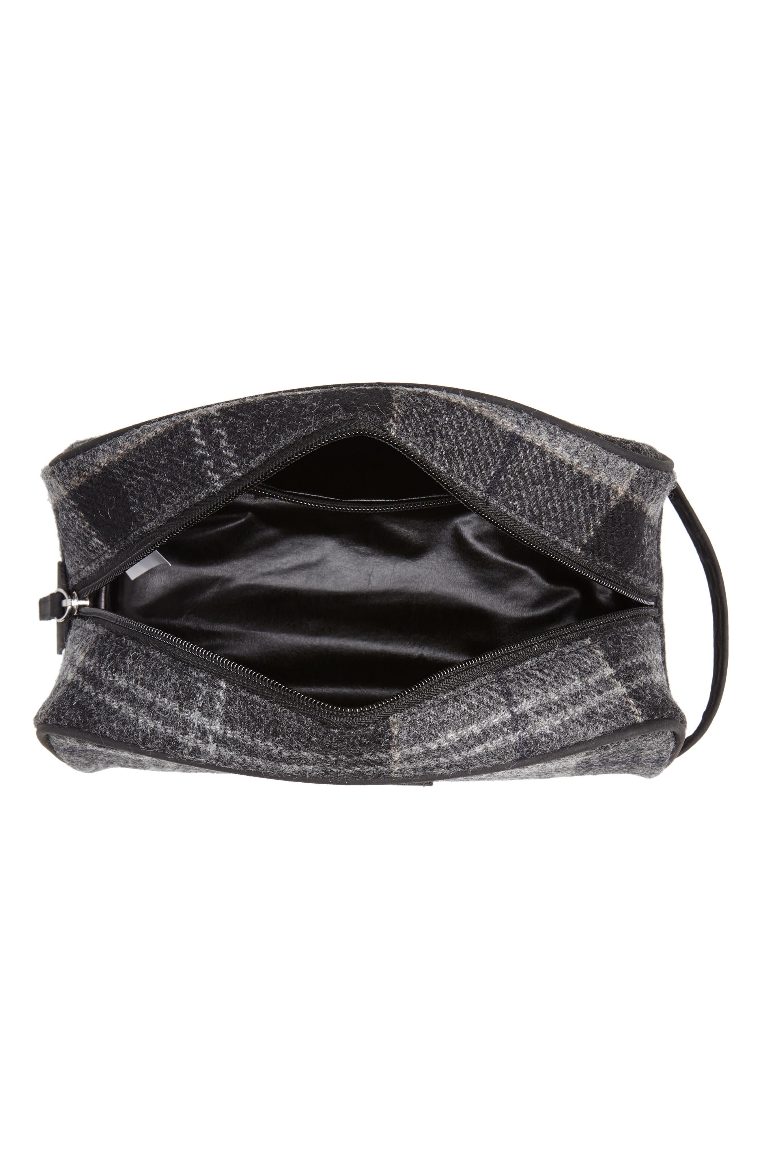 Shadow Tartan Wool Travel Kit,                             Alternate thumbnail 3, color,                             BLACK/ GREY TARTAN