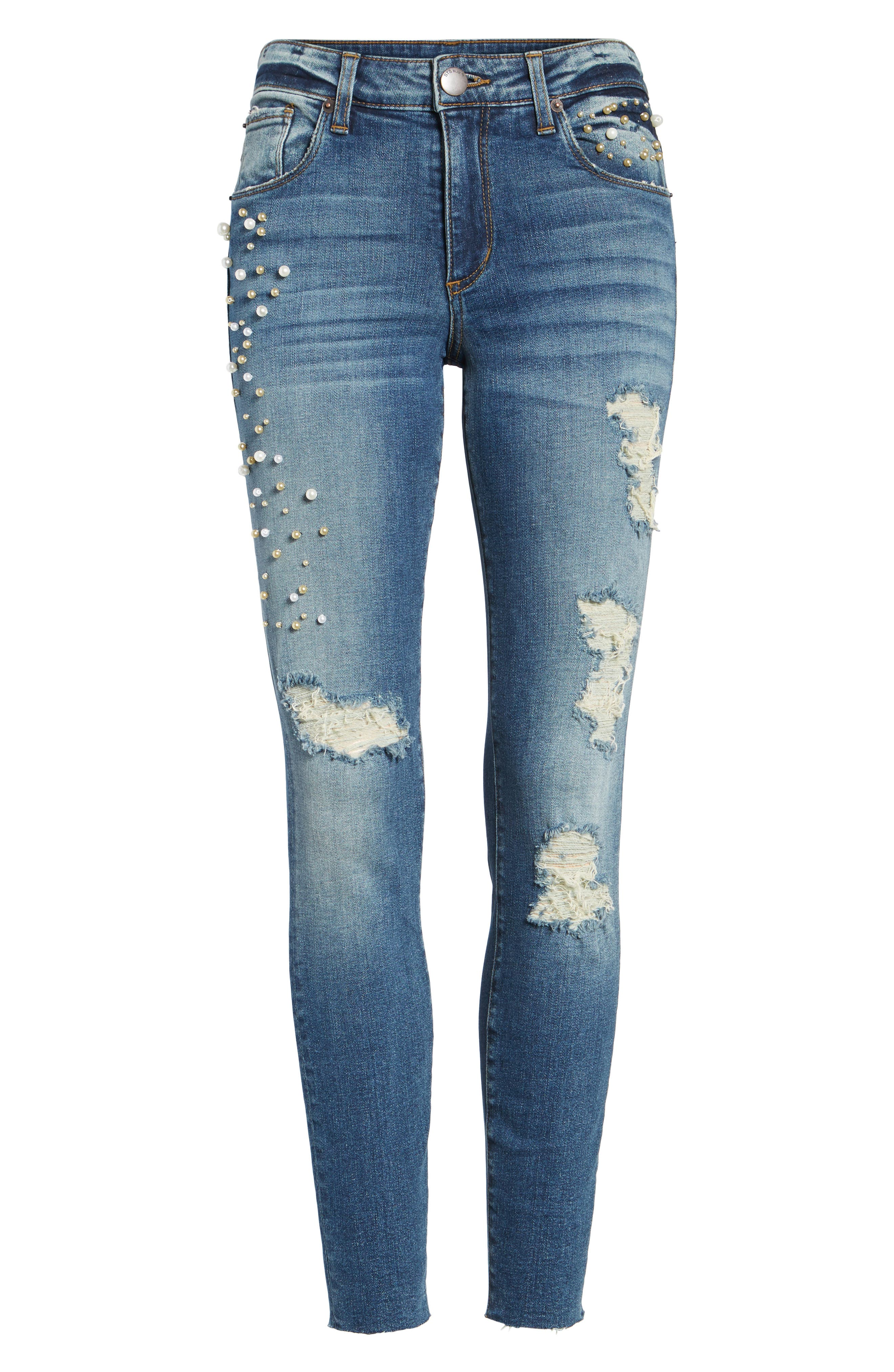 Piper Pearly Detail Ankle Skinny Jeans,                             Alternate thumbnail 6, color,                             400