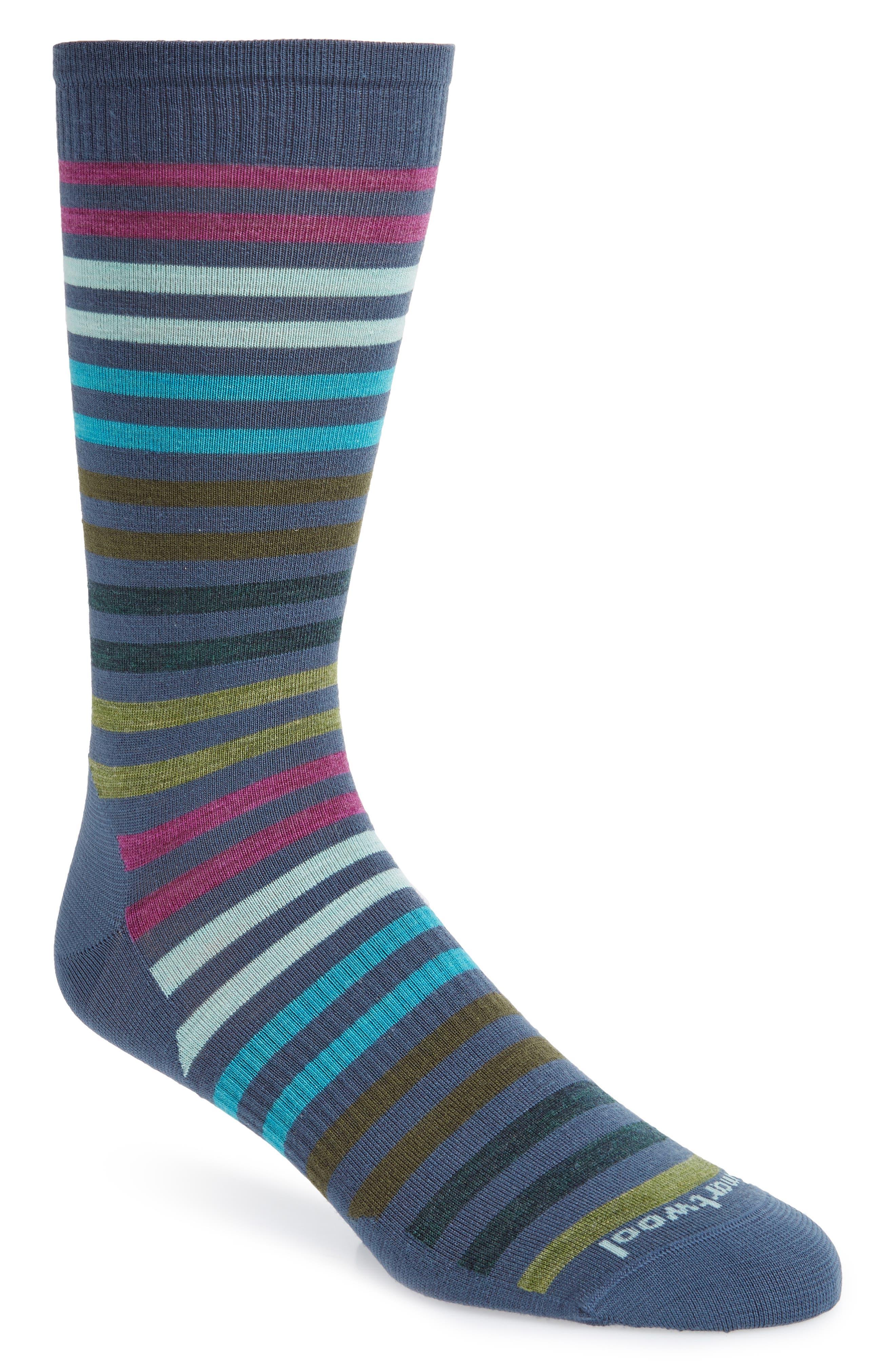 'Spruce Street' Stripe Merino Wool Blend Socks,                             Main thumbnail 1, color,                             DARK BLUE STEEL HEATHER