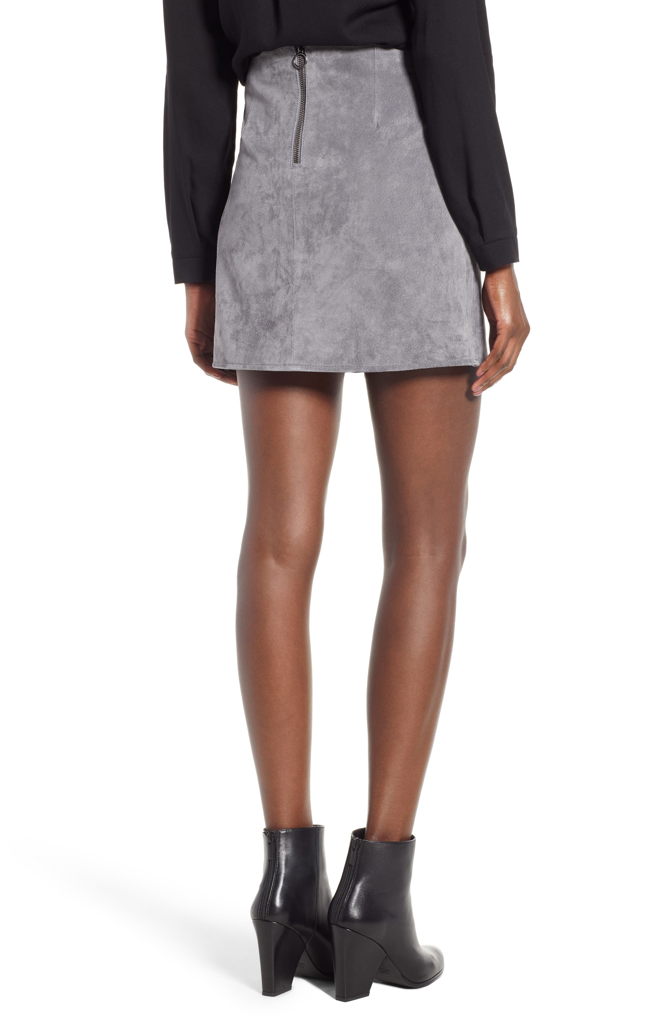 A-Line Suede Skirt,                             Alternate thumbnail 2, color,                             SILVER SCREEN