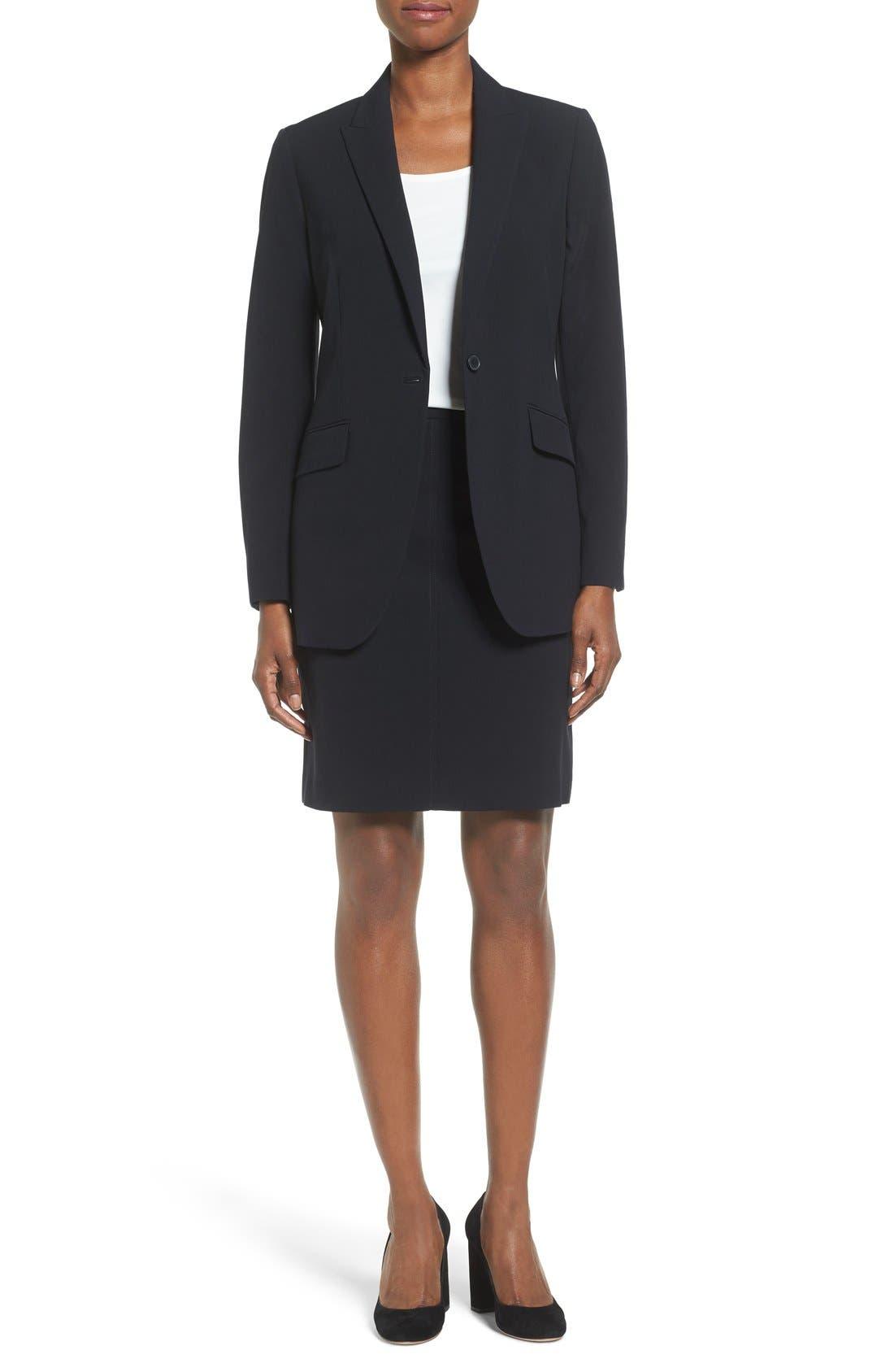 Long Boyfriend Suit Jacket,                             Alternate thumbnail 3, color,                             ANNE KLEIN BLACK