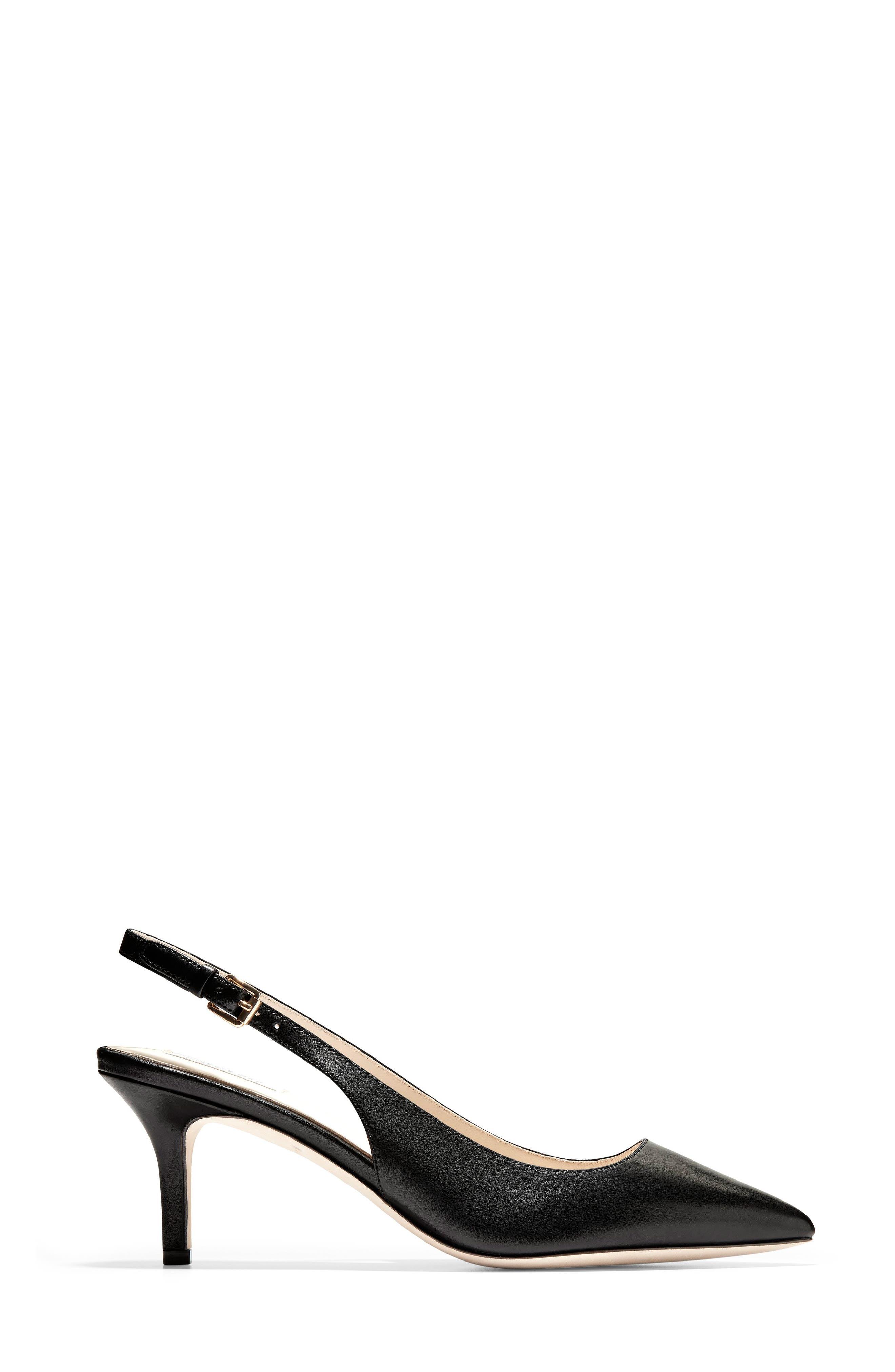 COLE HAAN,                             Vesta Slingback Pump,                             Alternate thumbnail 3, color,                             BLACK LEATHER