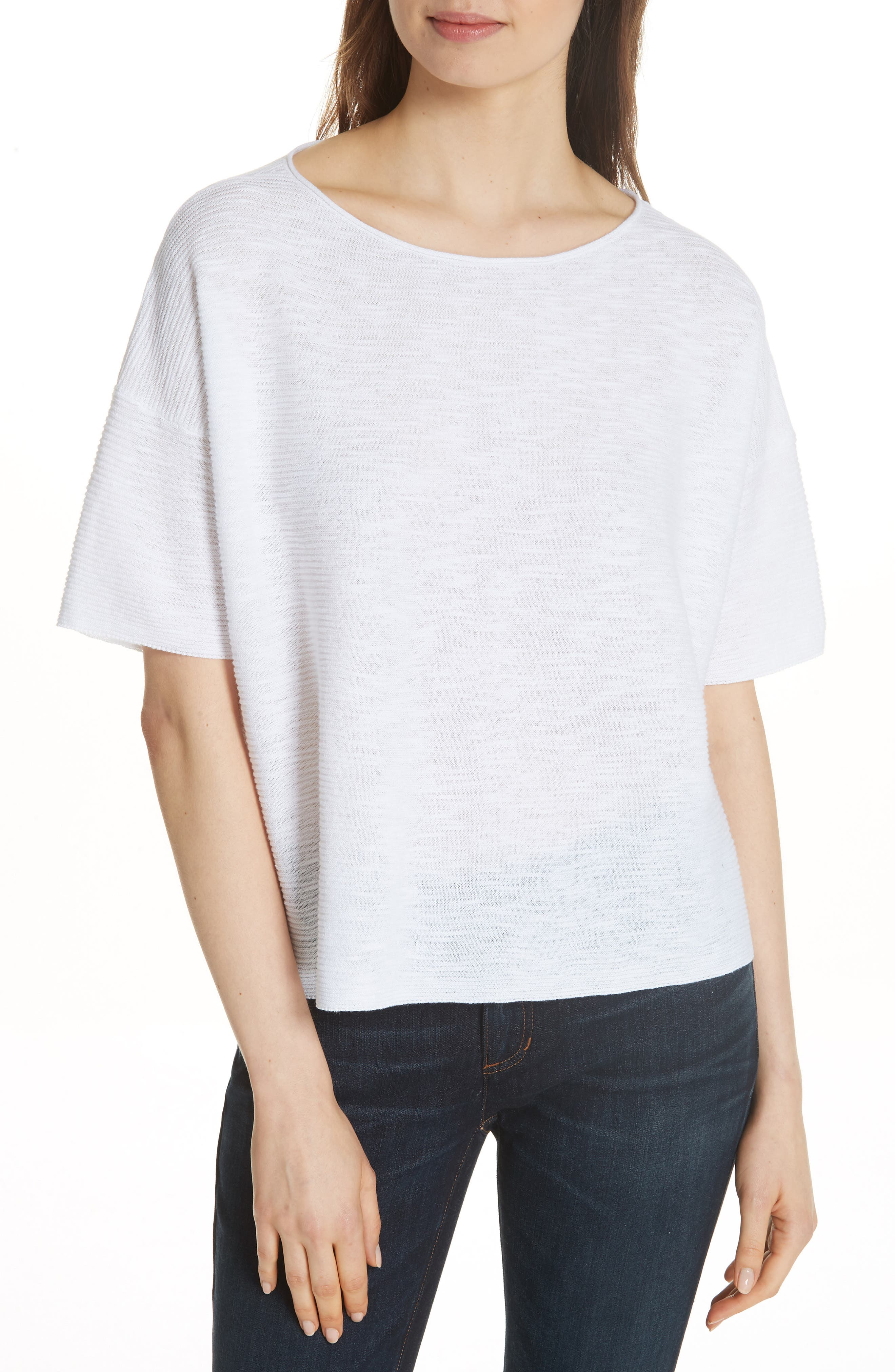 Bateau Neck Linen & Cotton Box Top,                         Main,                         color, 100