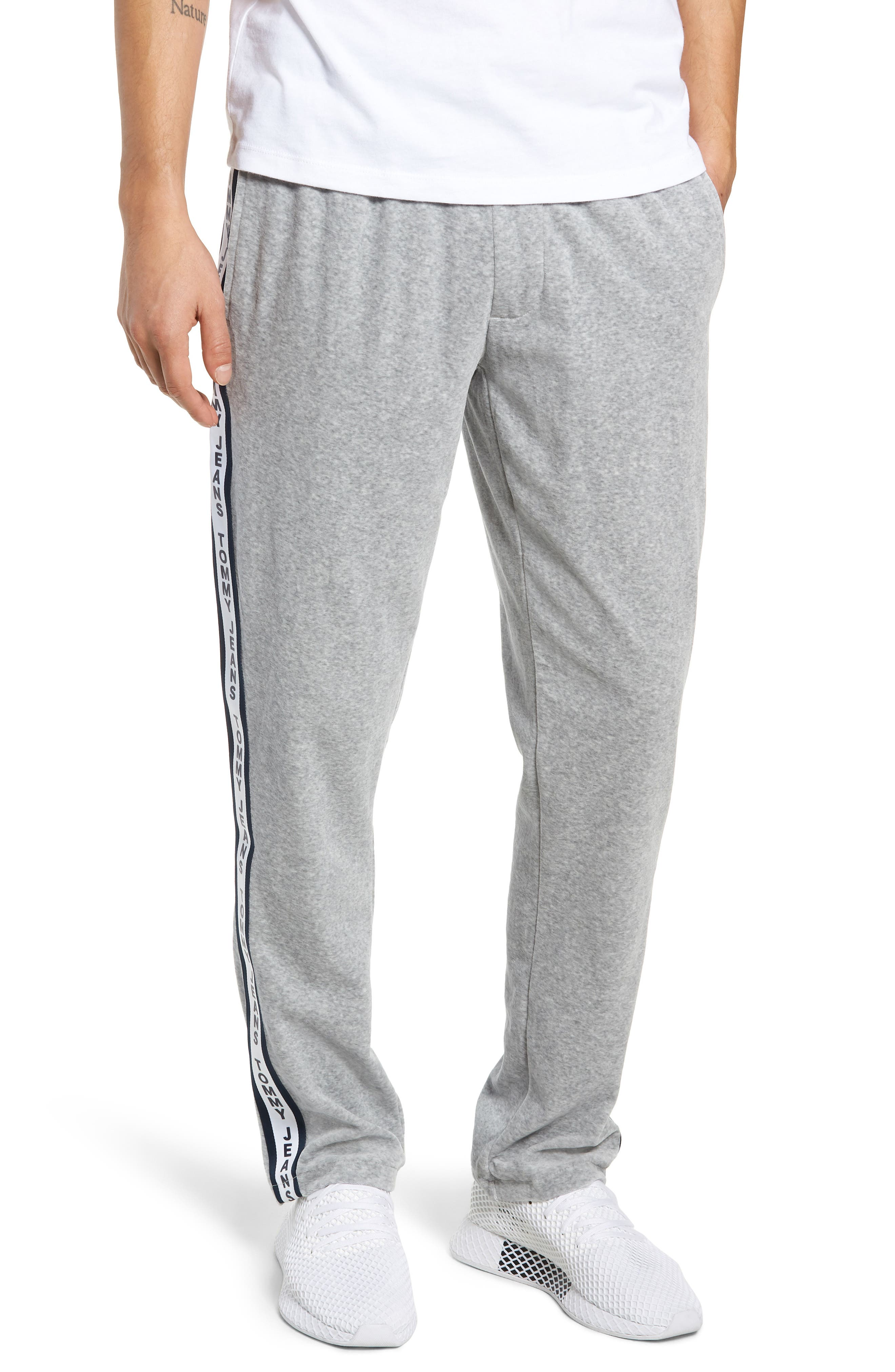 Relaxed Fit Velour Sweatpants,                         Main,                         color, LIGHT GREY HEATHER