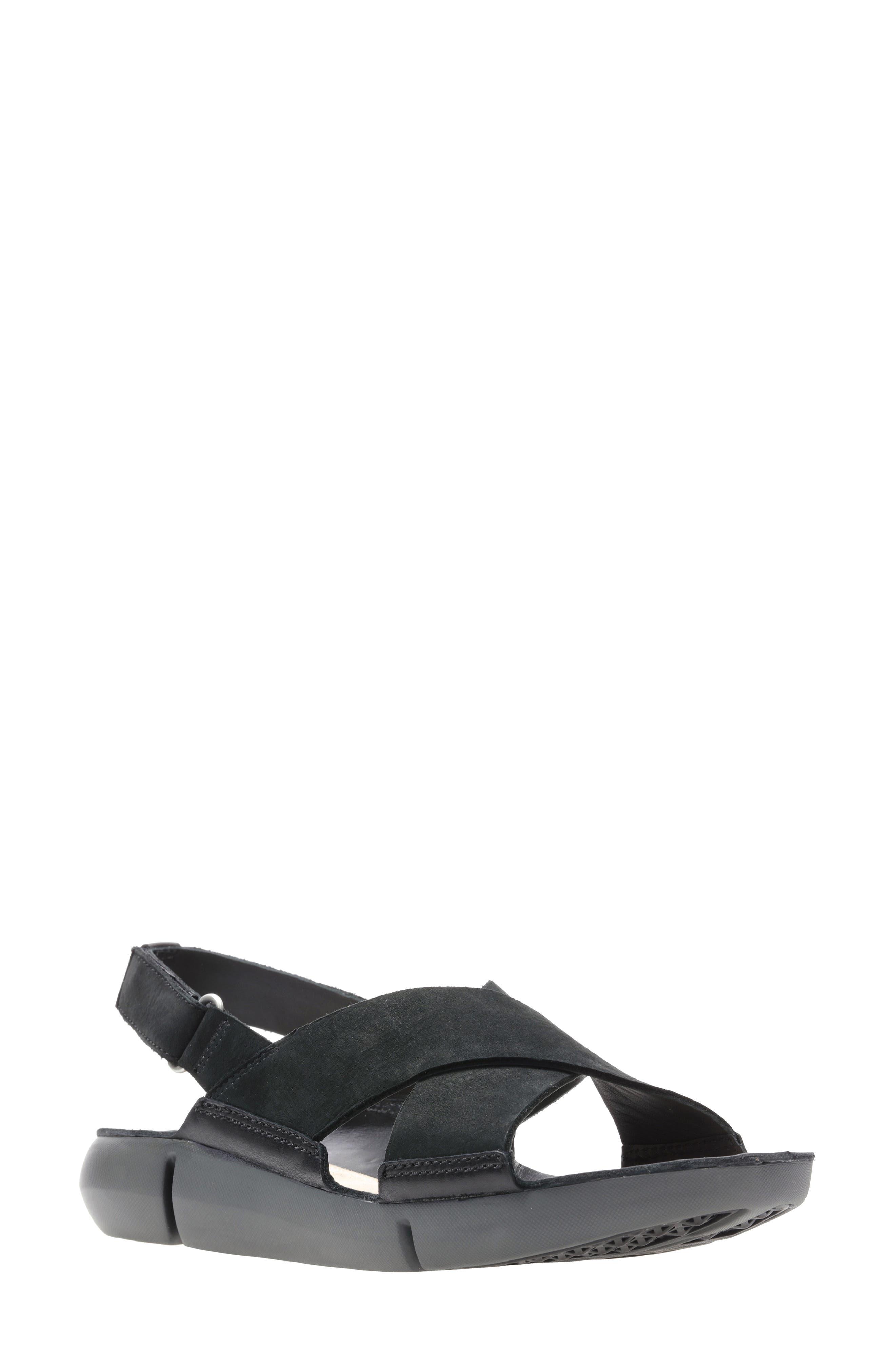 CLARKS<SUP>®</SUP> Tri Chloe Sandal, Main, color, BLACK/ BLACK NUBUCK