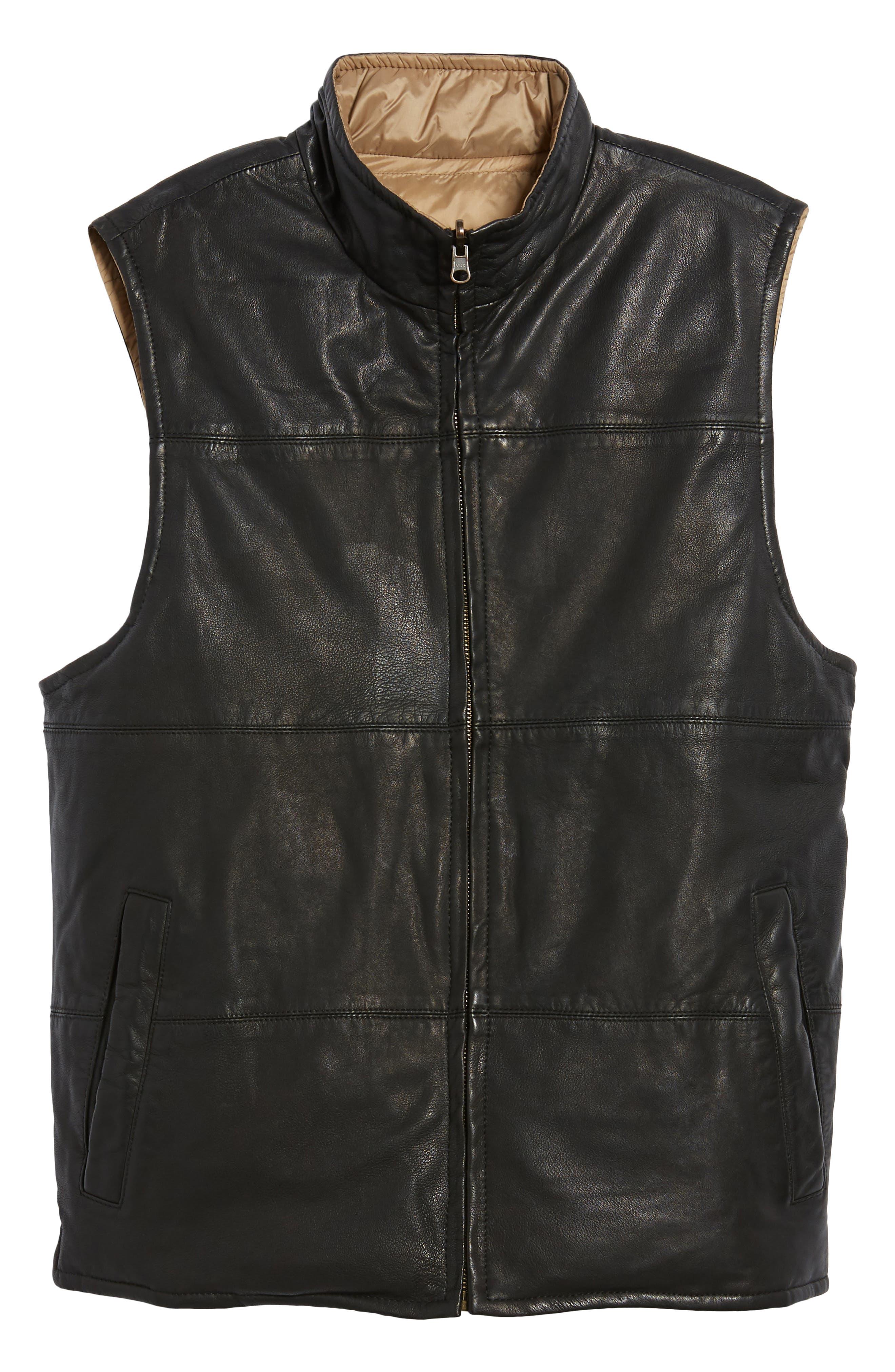 Reversible Leather Puffer Vest,                             Alternate thumbnail 6, color,                             001