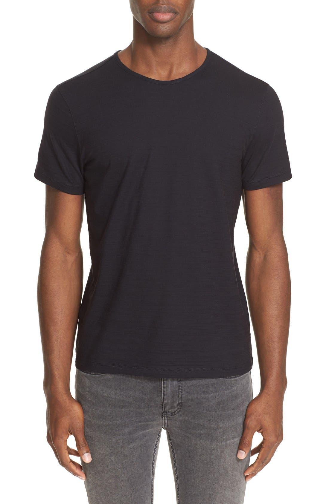 Slub Pima Cotton T-Shirt,                         Main,                         color, BLACK