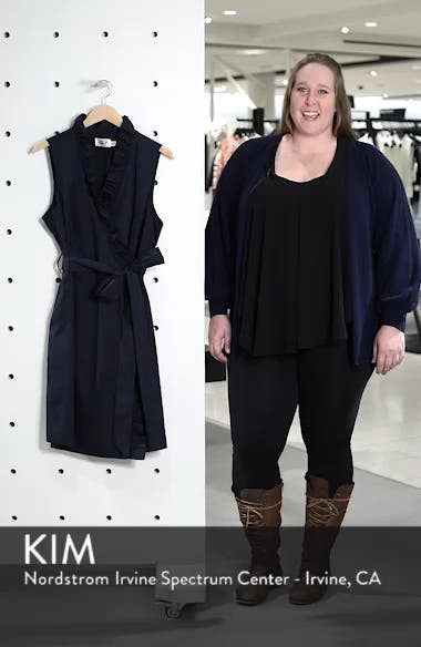 Ruffle Trim Poplin Wrap Dress, sales video thumbnail