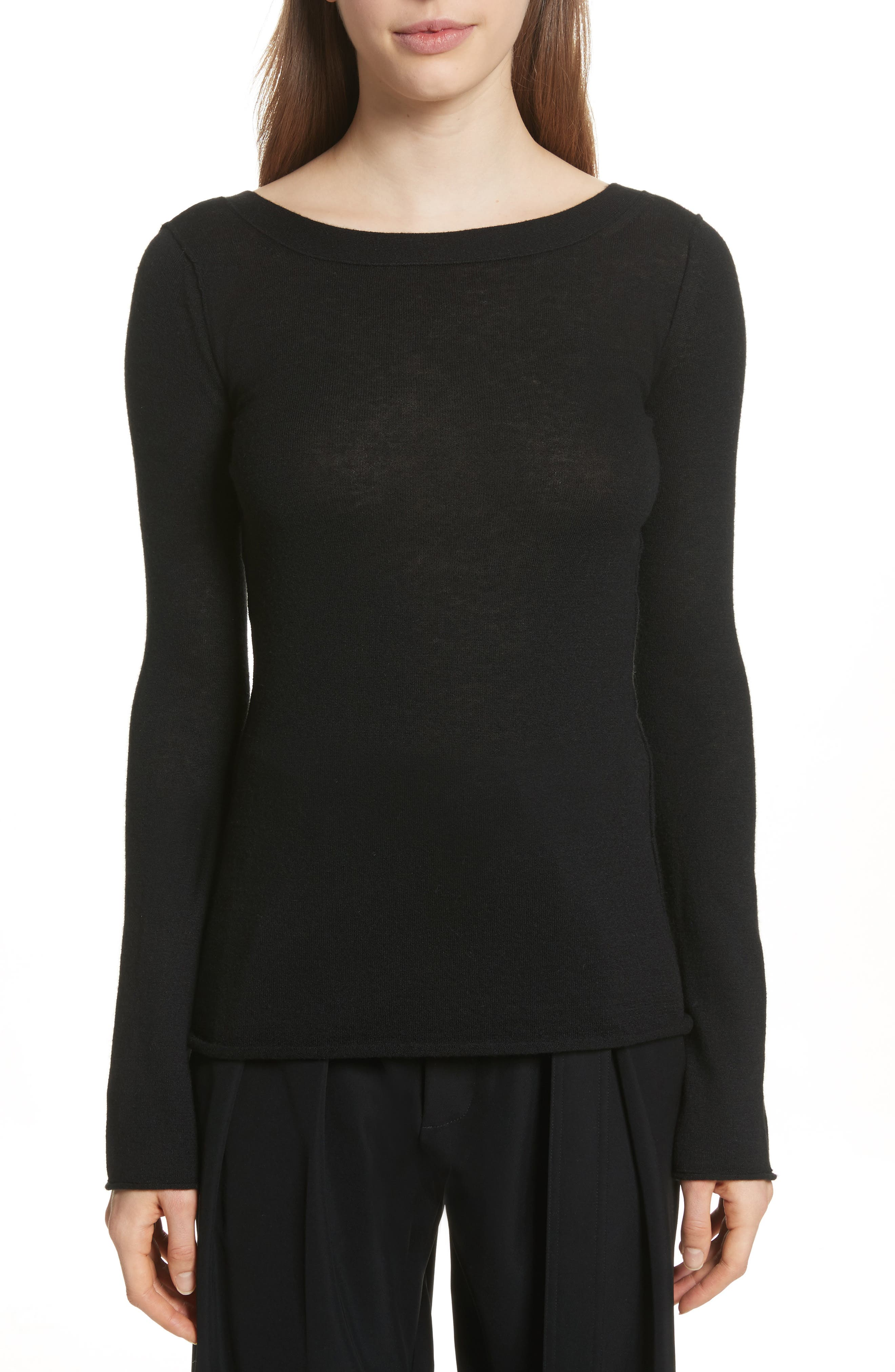 Cashmere V-Back Cashmere Sweater,                             Main thumbnail 1, color,                             001