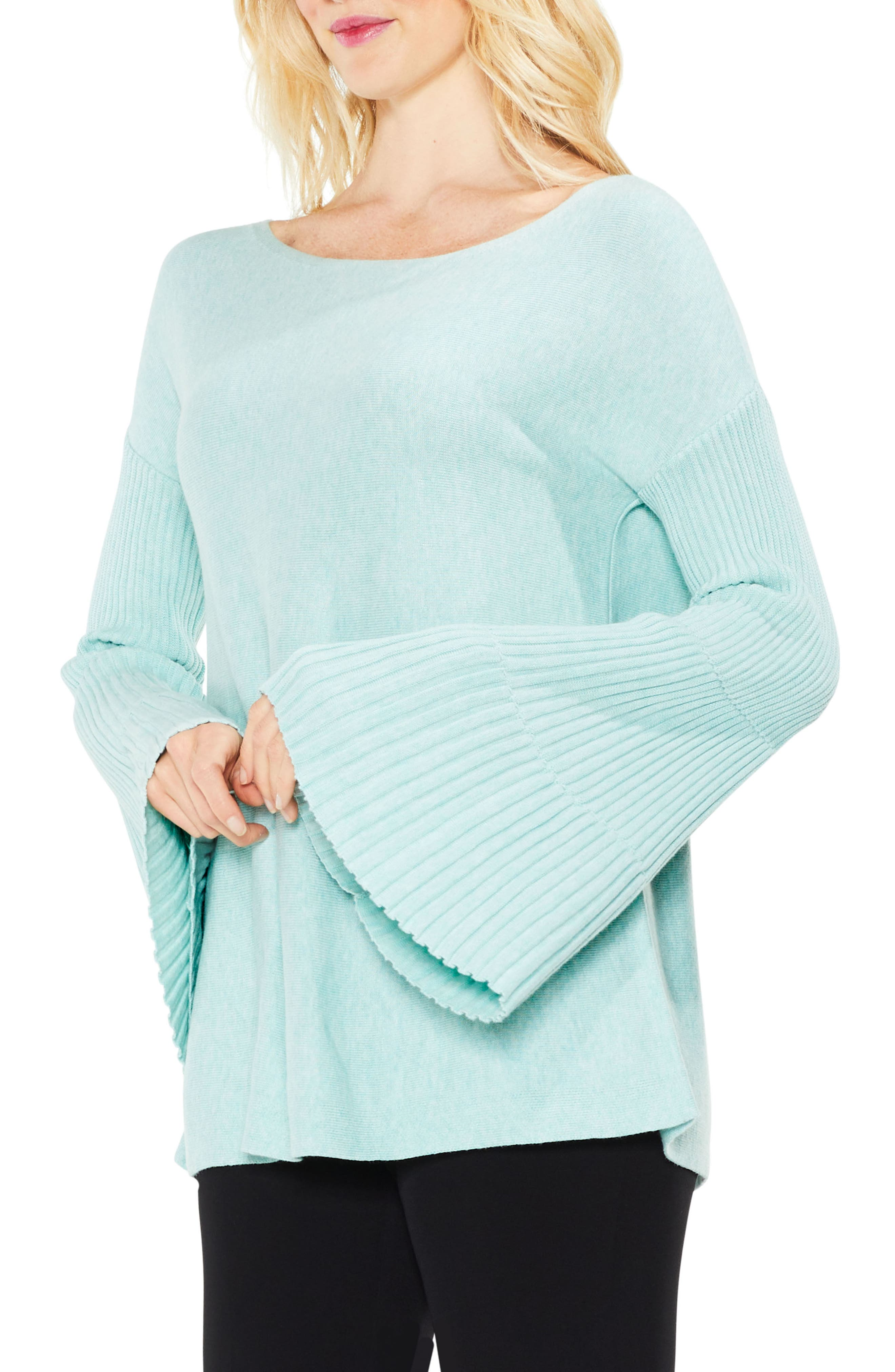 Bell Sleeve Ribbed Sweater,                             Main thumbnail 5, color,