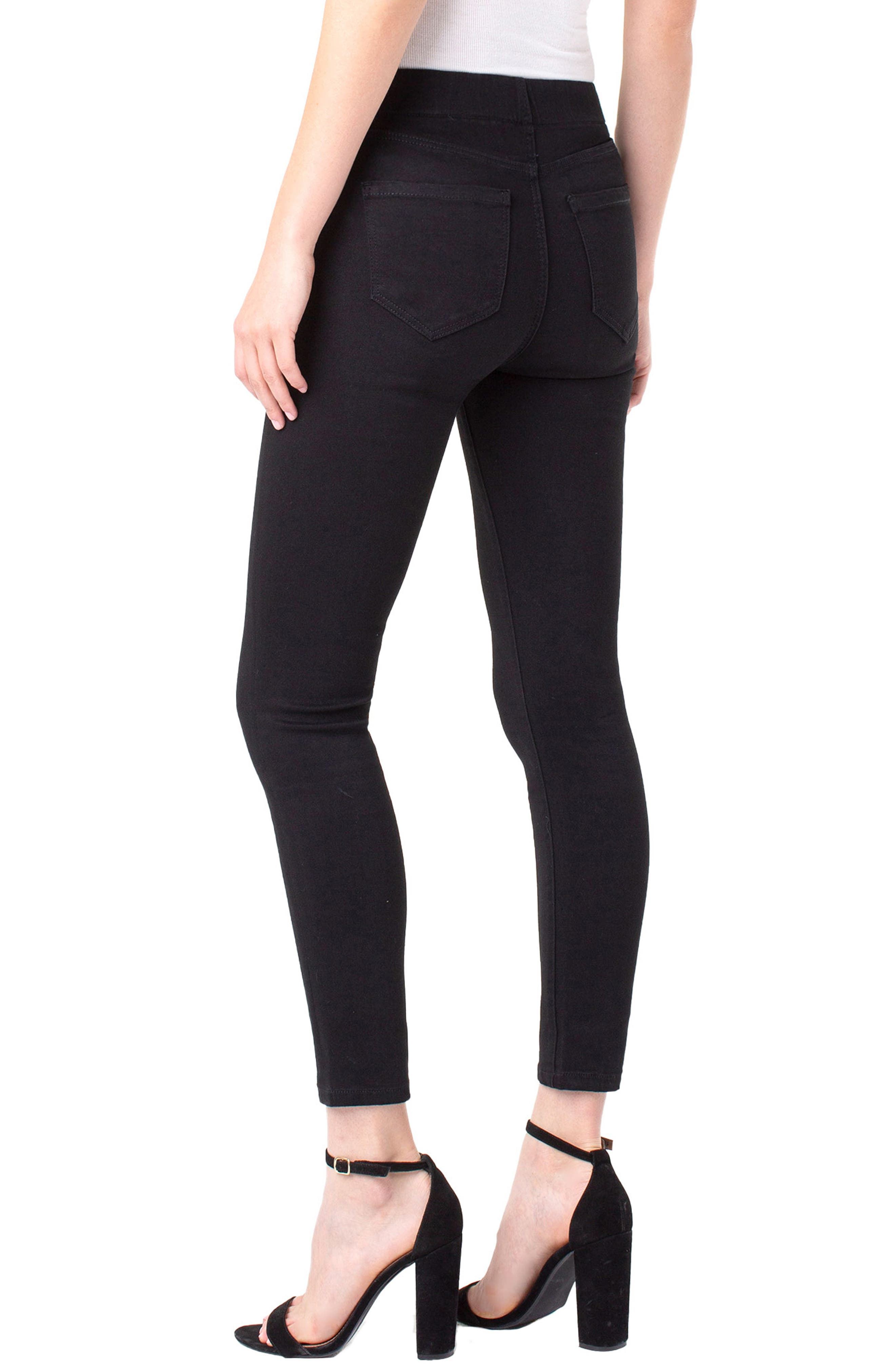 Chloe Pull-On Stretch Skinny Ankle Jeans,                             Alternate thumbnail 7, color,                             BLACK RINSE