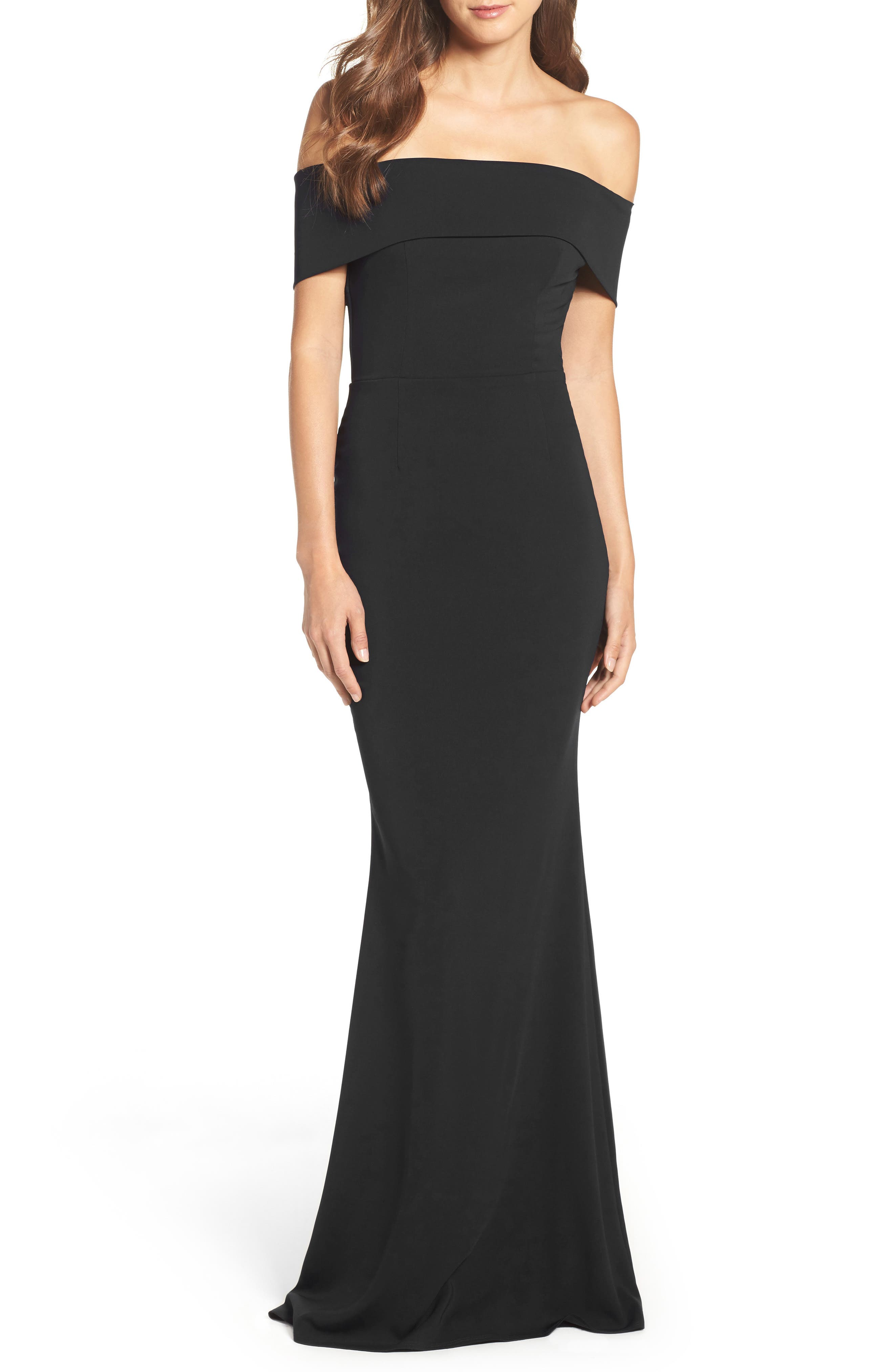 Legacy Crepe Body-Con Gown,                             Main thumbnail 1, color,                             BLACK