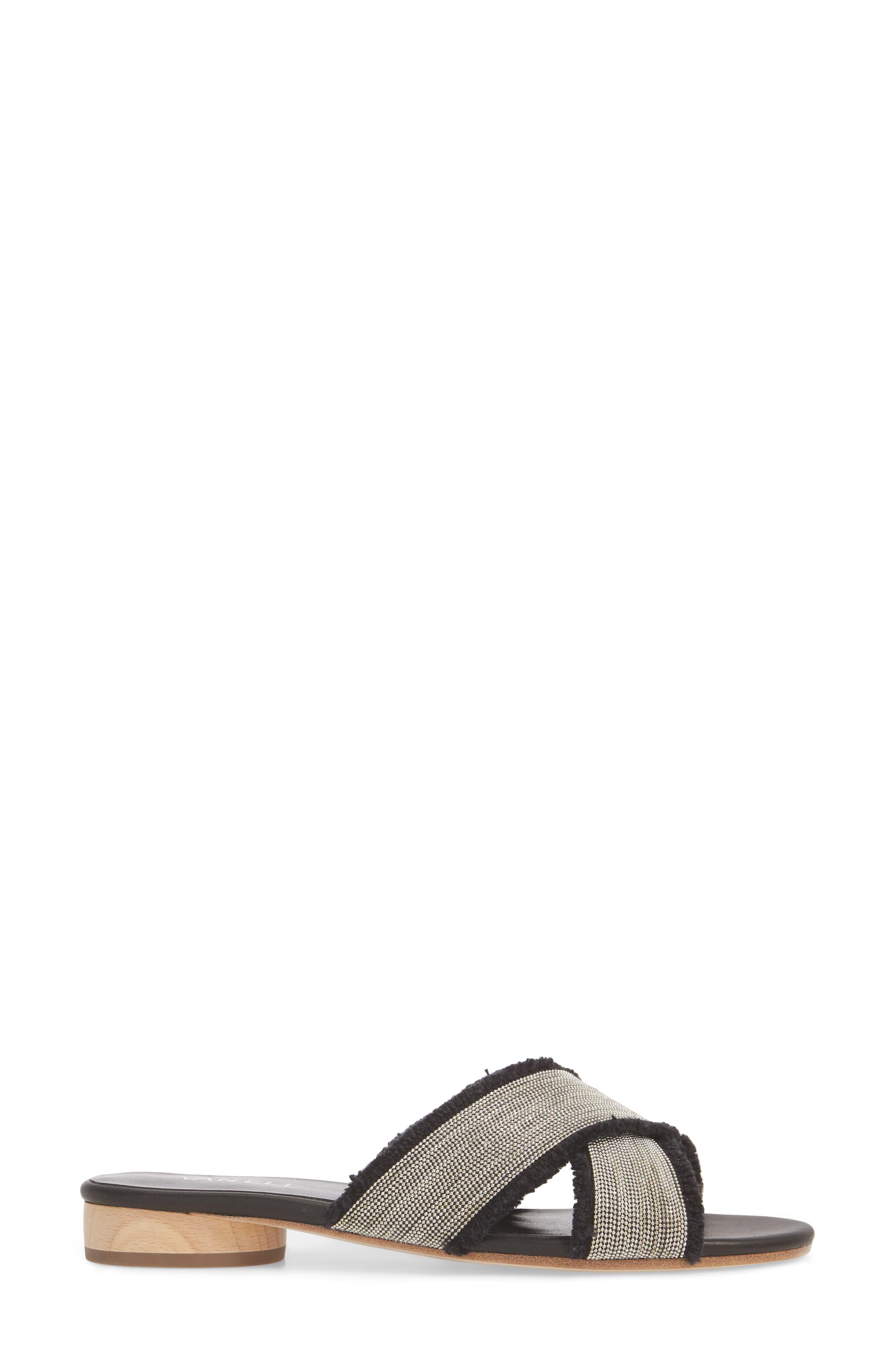 Baret Embellished Cross Strap Slide Sandal,                             Alternate thumbnail 3, color,                             BLACK FABRIC