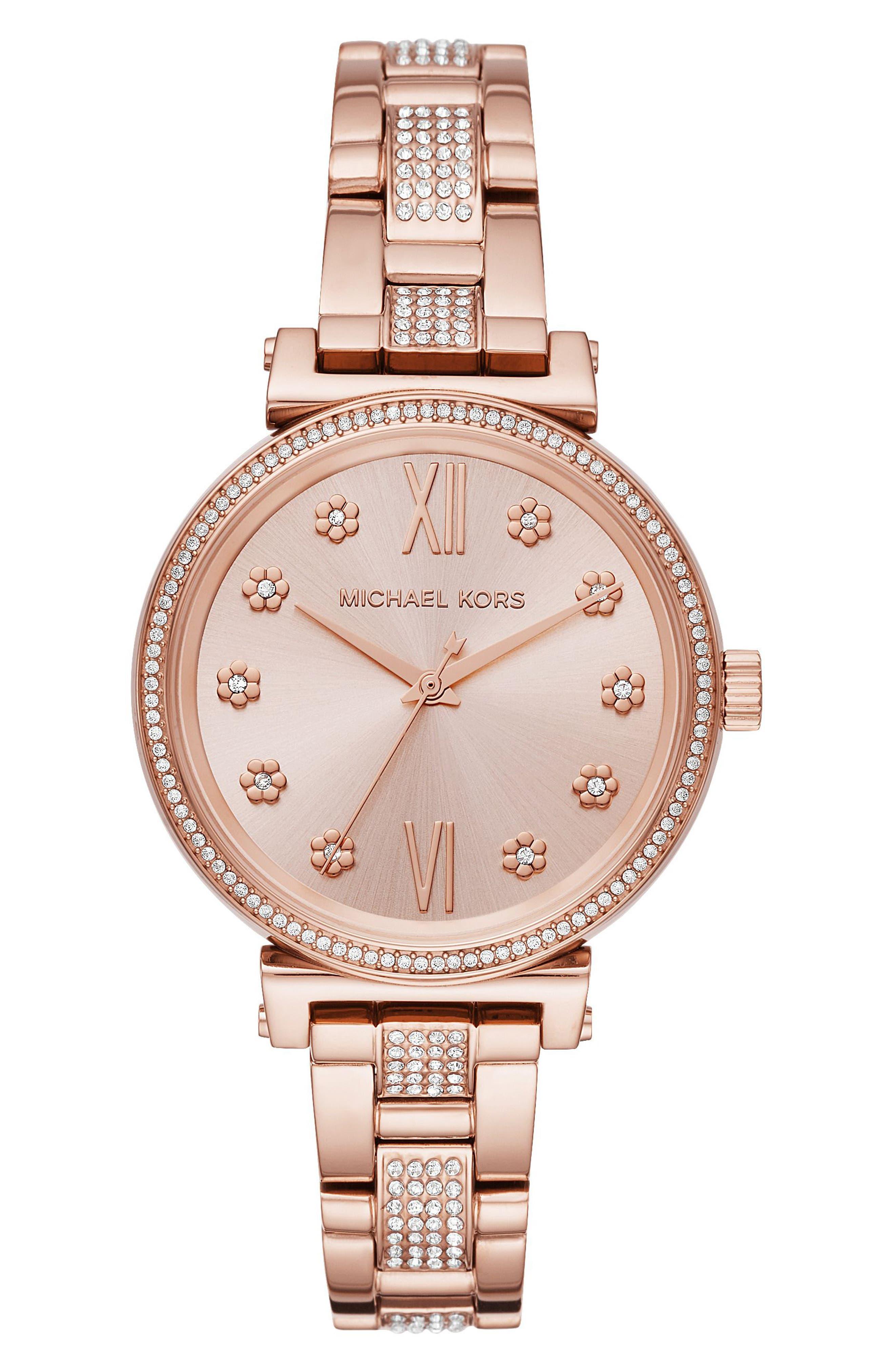 Sofie Bracelet Watch, 36mm, Main, color, ROSE GOLD