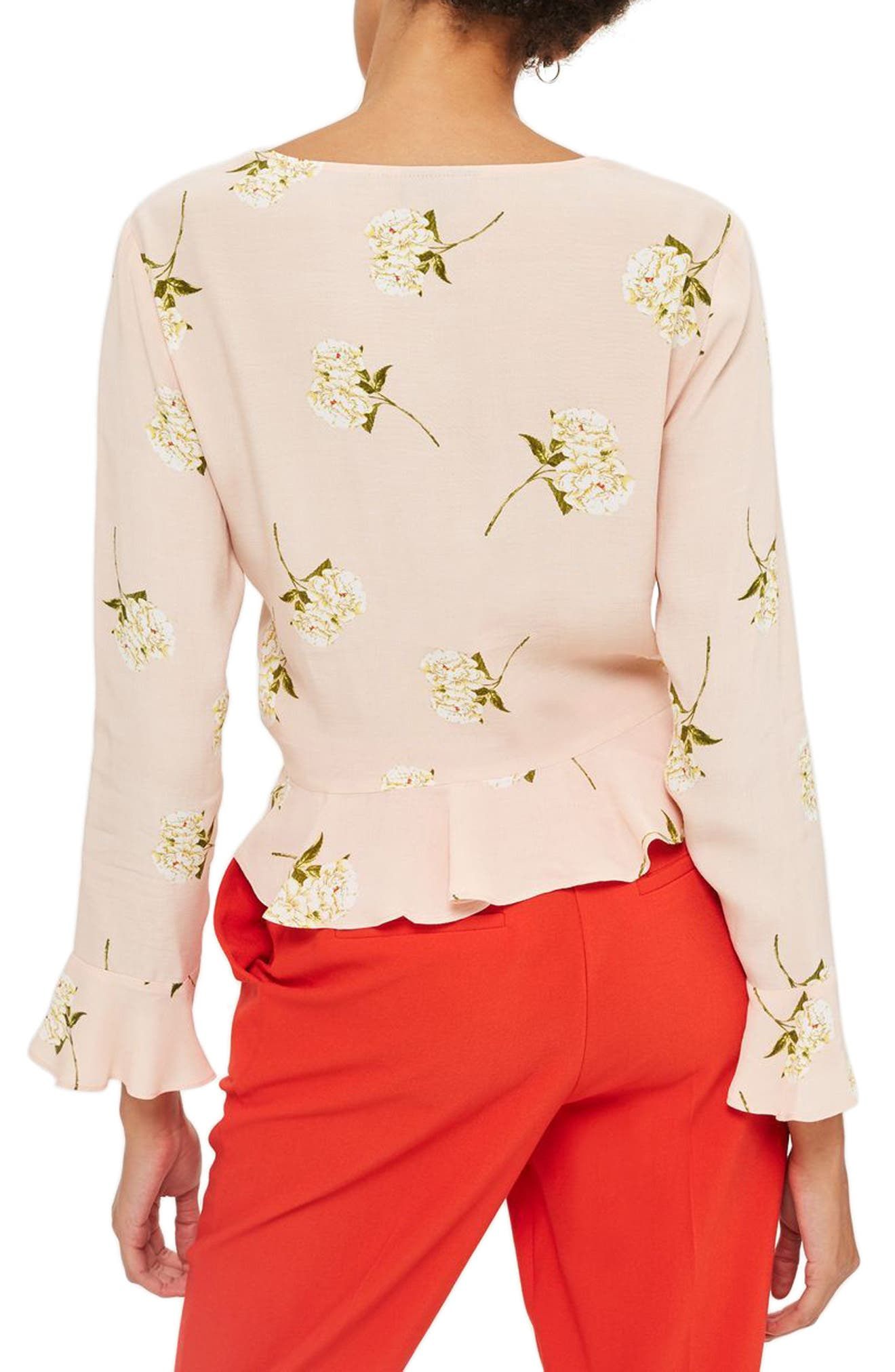 Ruby Carnation Ruched Blouse,                             Alternate thumbnail 2, color,                             680