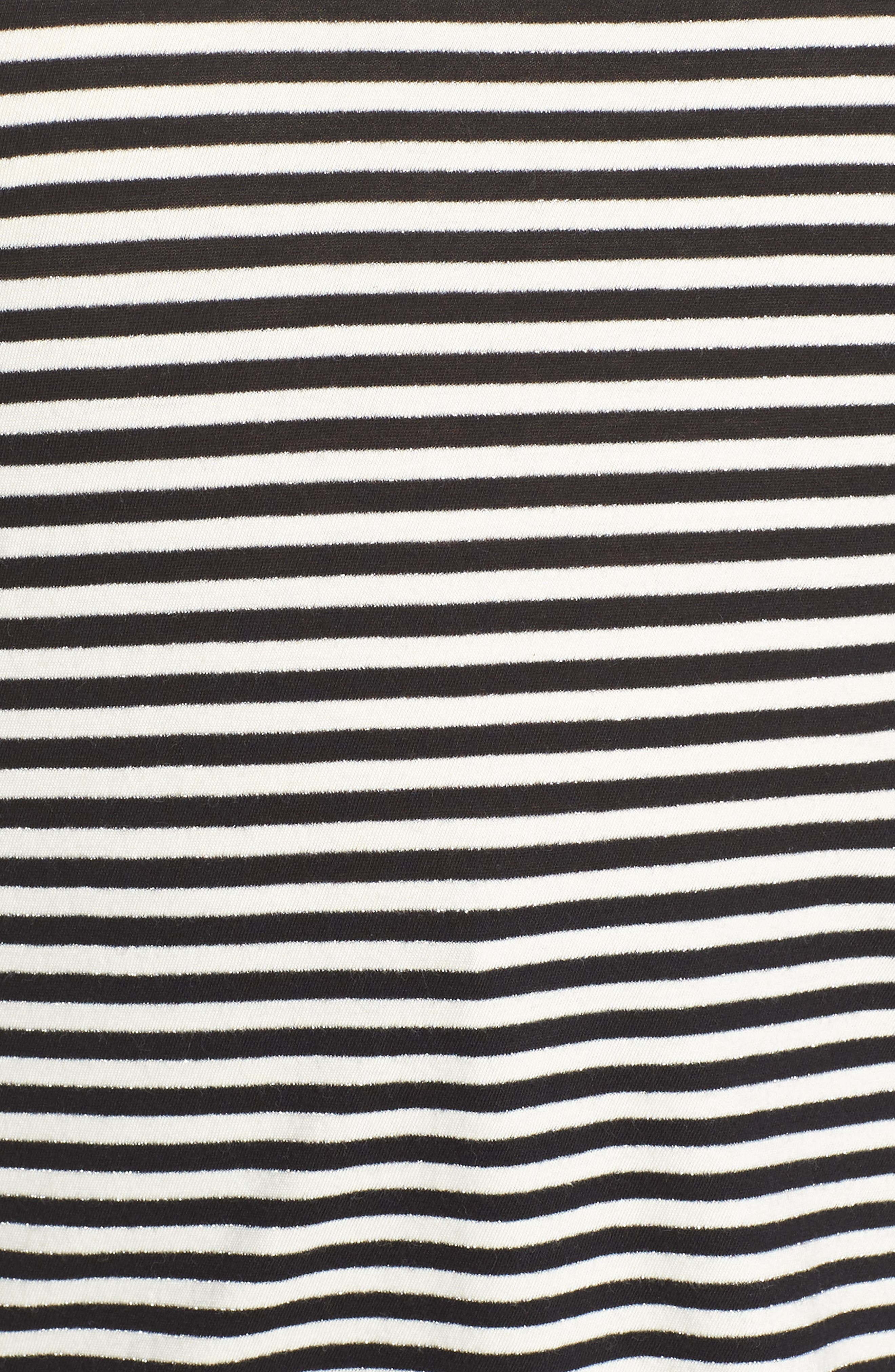Embroidered Clover Stripe Tee,                             Alternate thumbnail 5, color,                             BLACK STRIPE