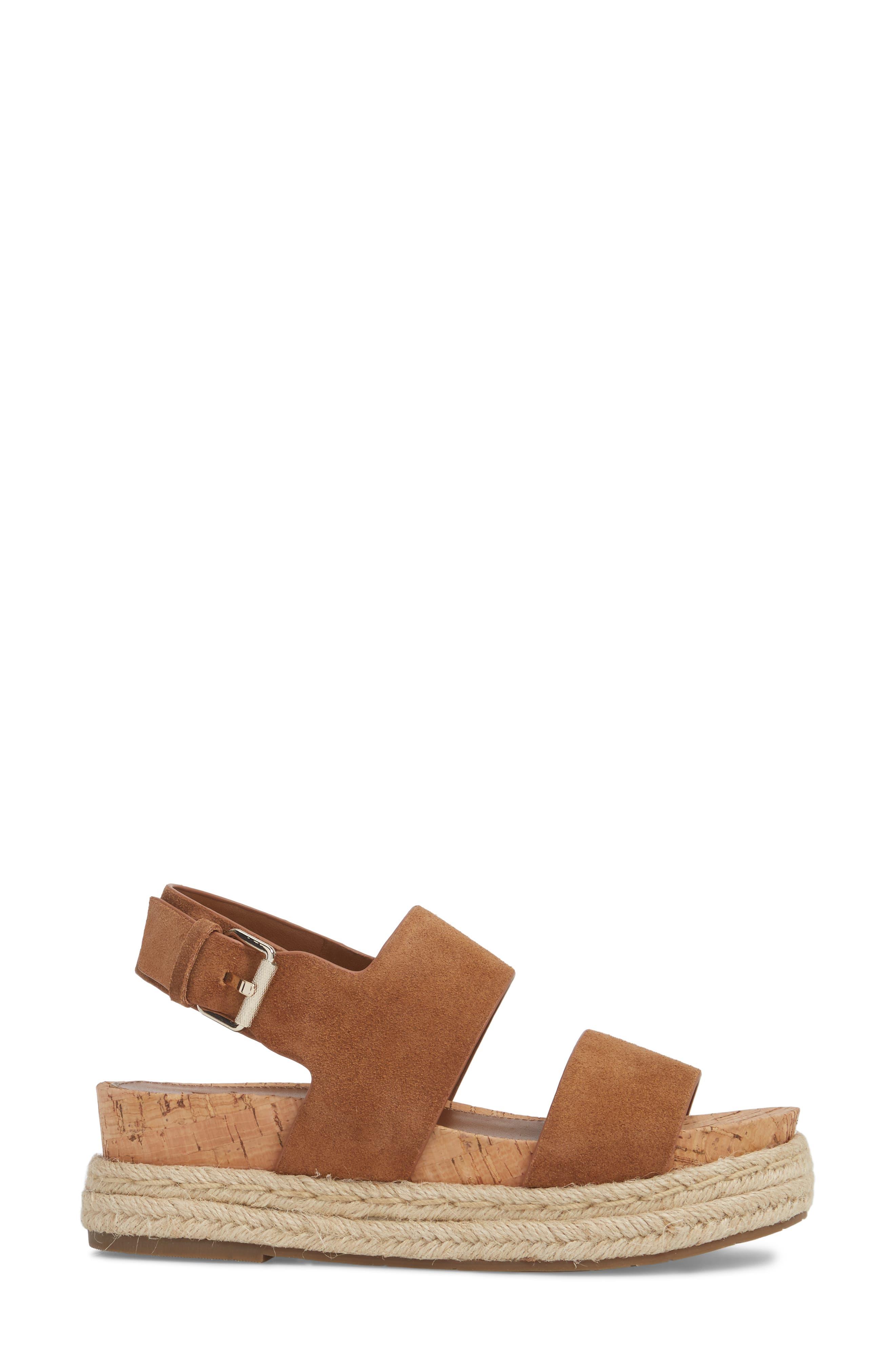 Oria Espadrille Platform Sandal,                             Alternate thumbnail 3, color,                             COGNAC SUEDE