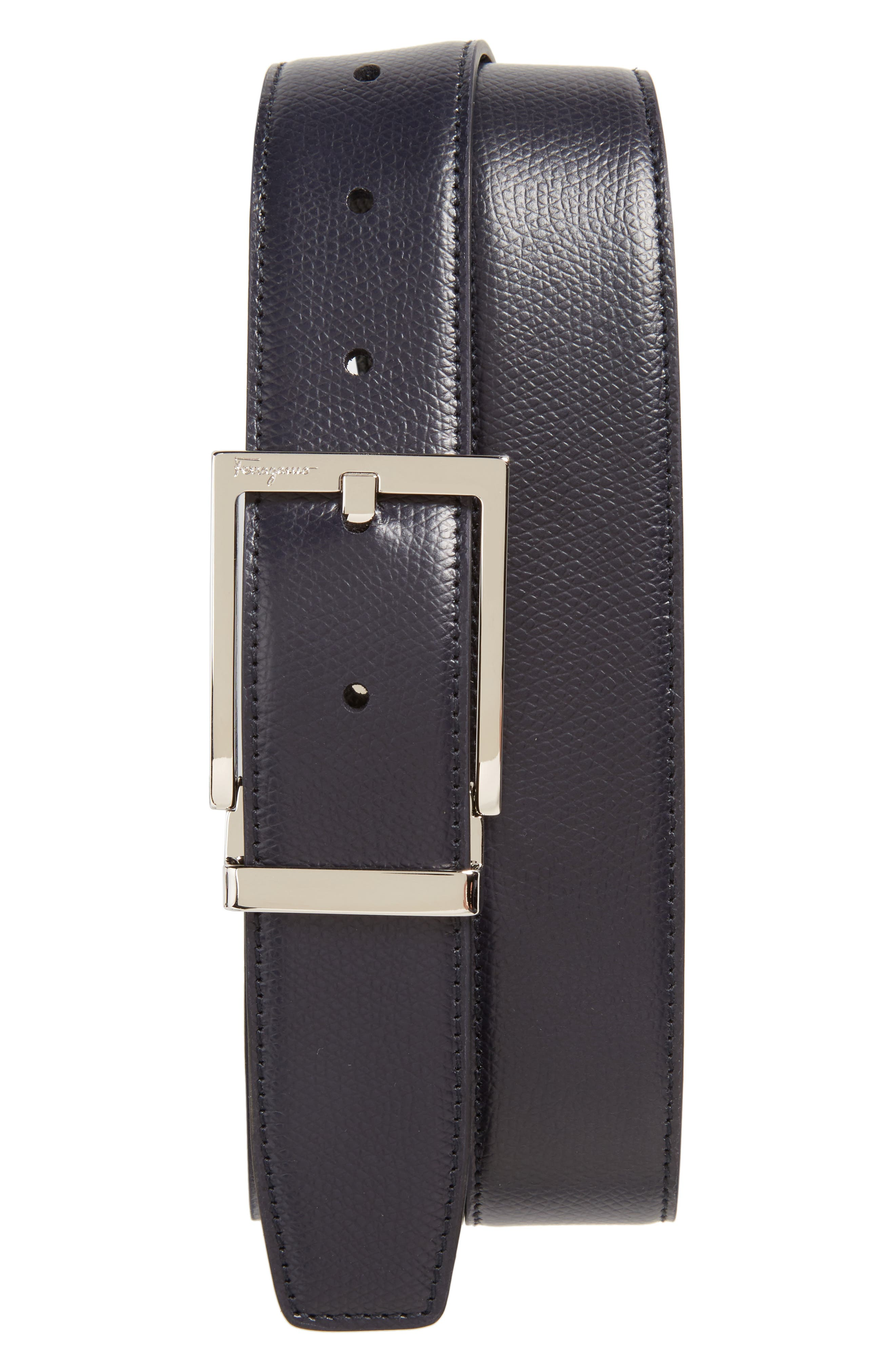 Reversible Leather Belt,                         Main,                         color, NAVY/ BLACK