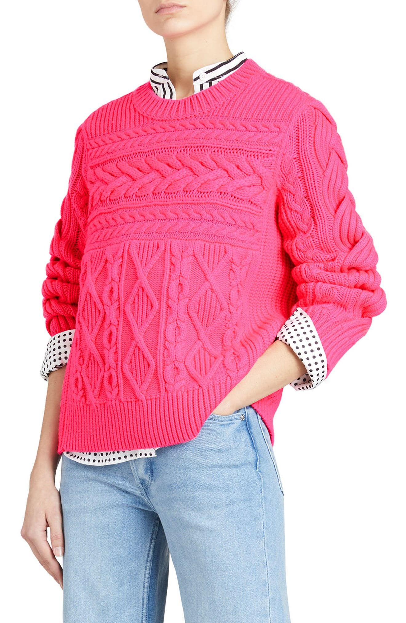 Tolman Aran Knit Sweater,                             Main thumbnail 1, color,