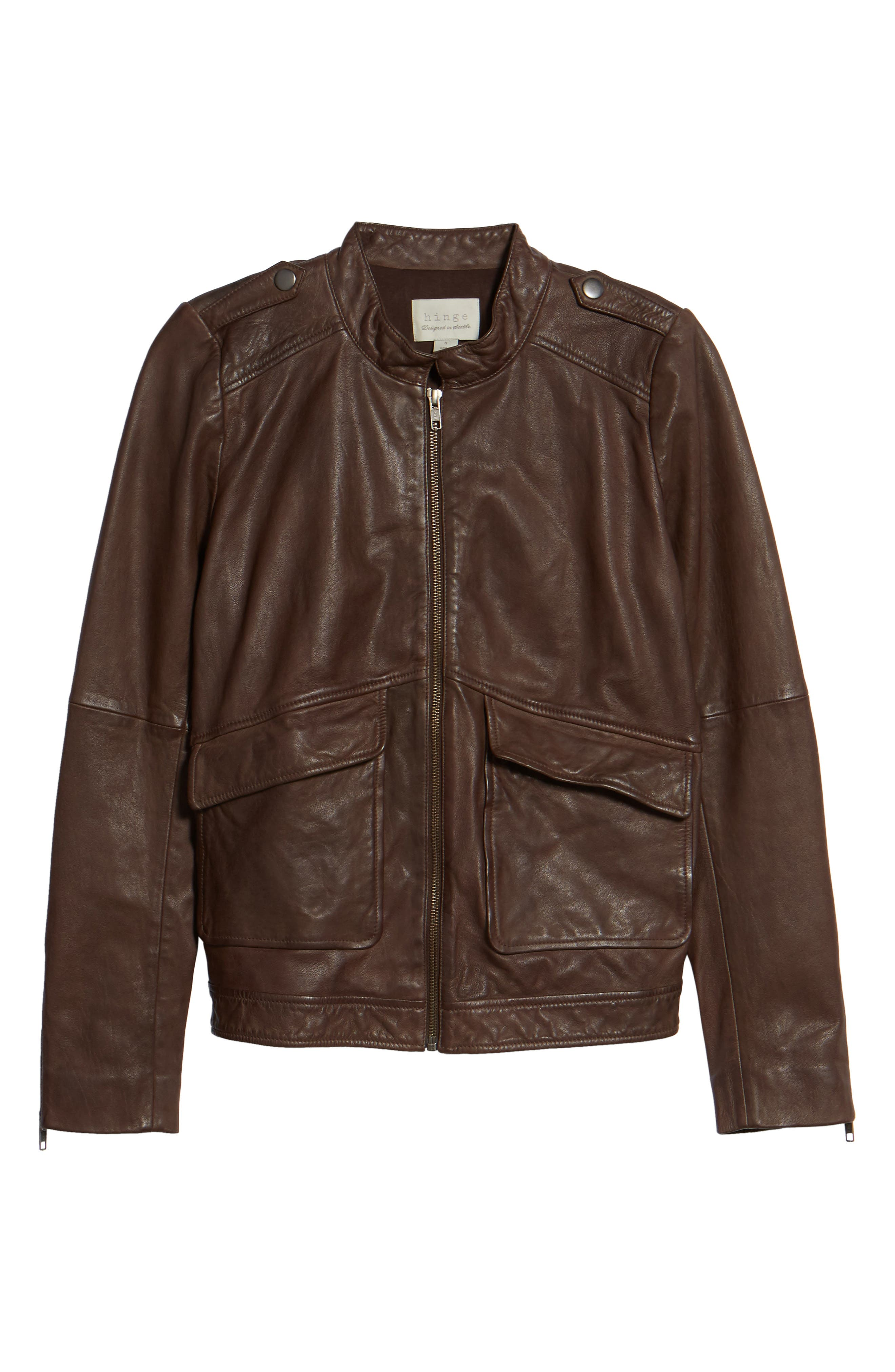 Pocket Detail Leather Jacket,                             Alternate thumbnail 5, color,