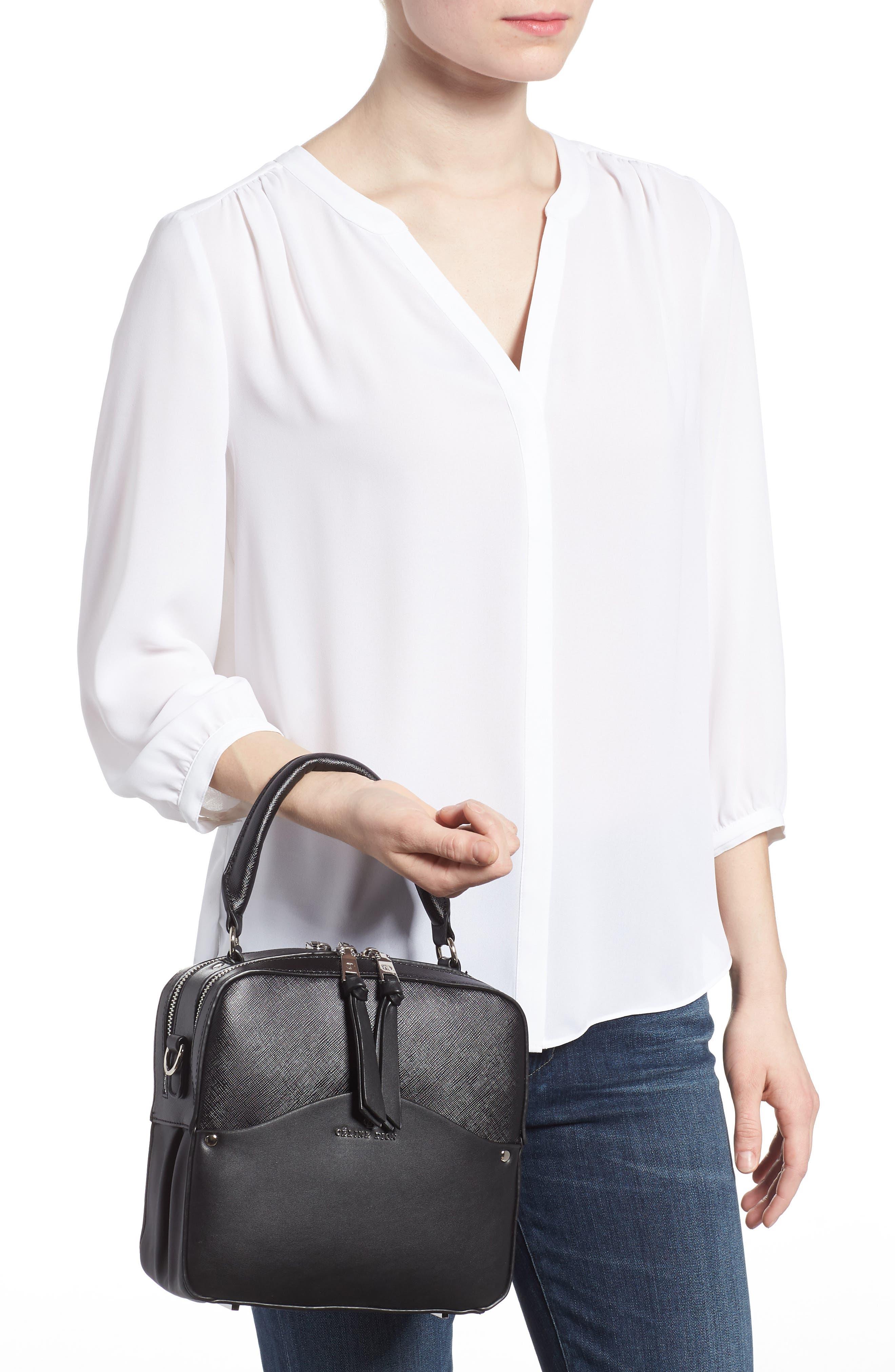 Céline Dion Motif Top Handle Leather Satchel,                             Alternate thumbnail 4, color,