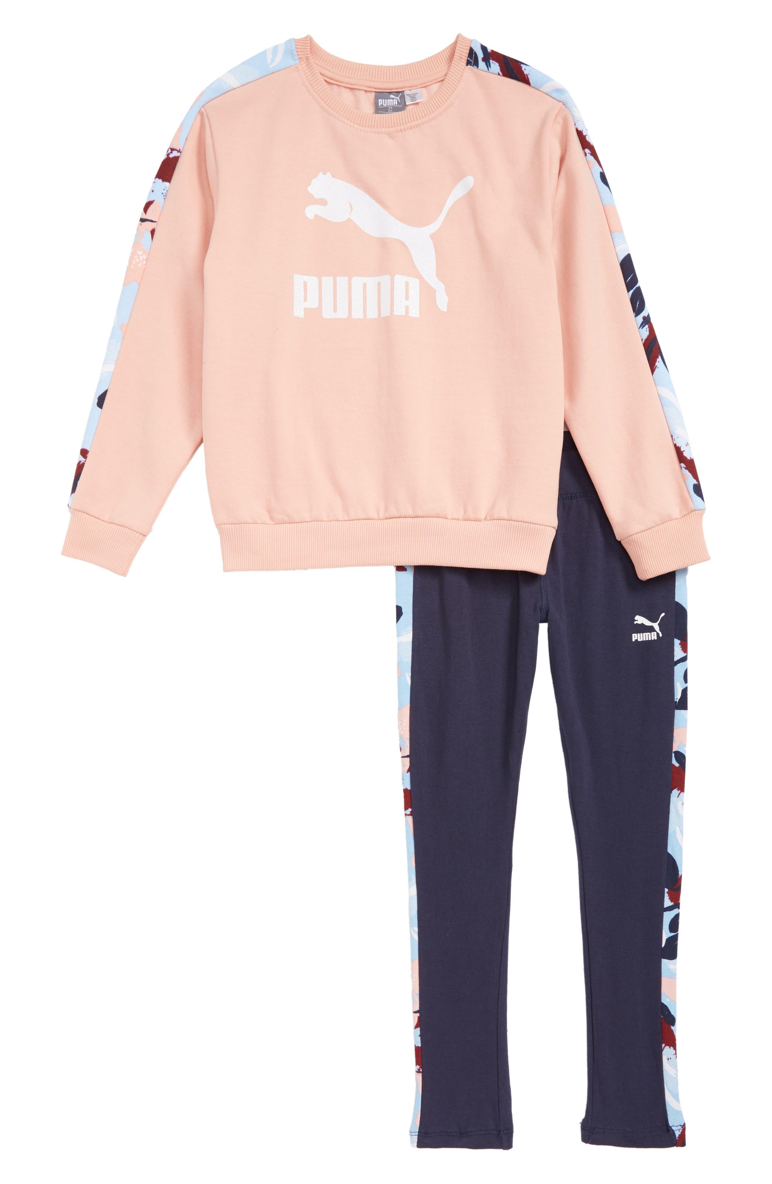 Fleece Sweatshirt and Sweatpants Set,                         Main,                         color, PEACH BEIGE