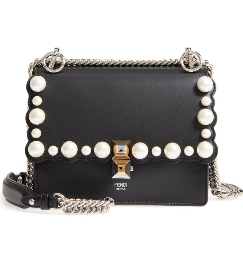b0d56bd2574c Fendi Small Kan I Imitation Pearl Stud Calfskin Shoulder Bag