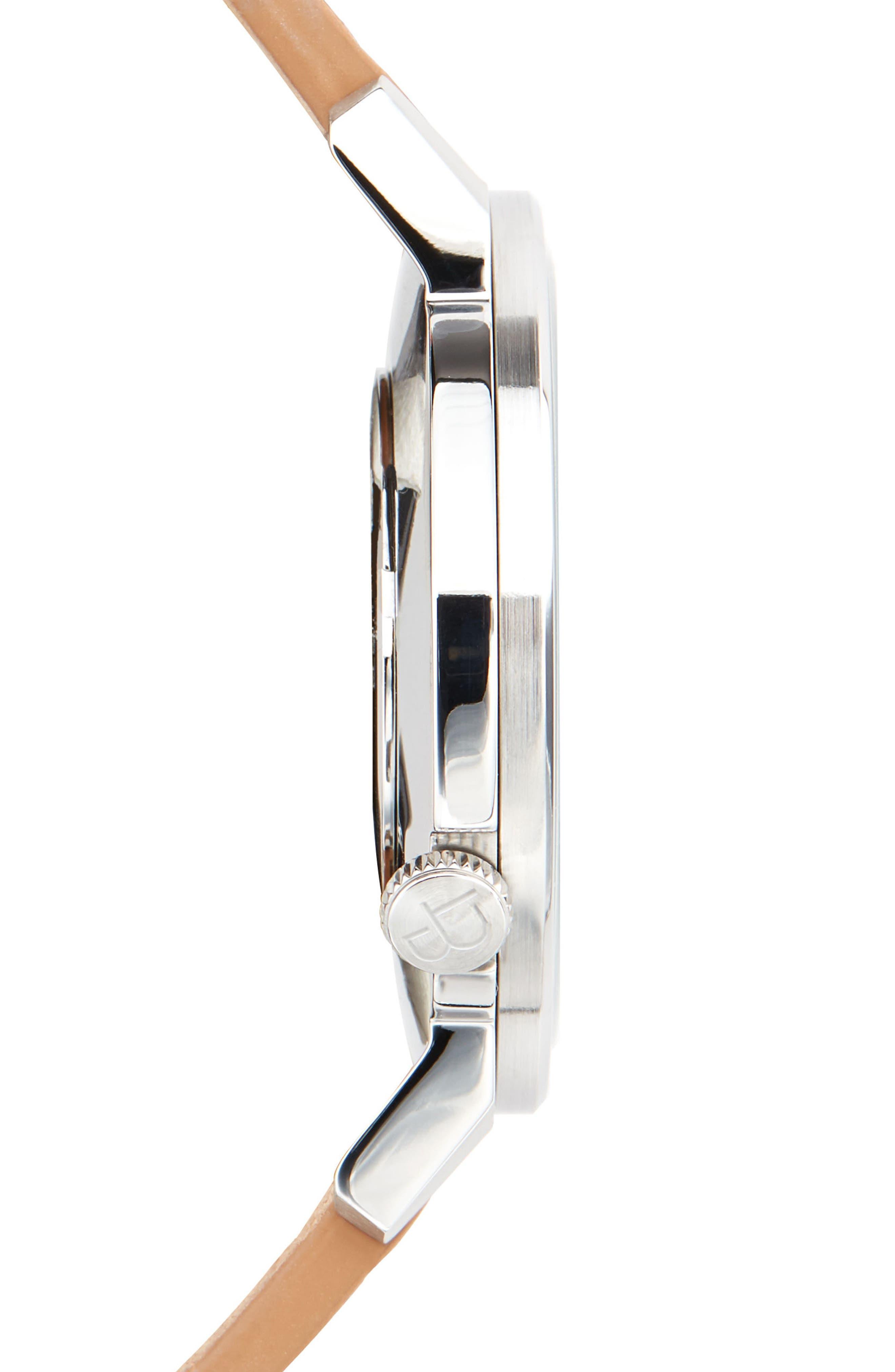 Davis Slim Leather Strap Watch, 40mm,                             Alternate thumbnail 3, color,                             WHITE/ TAN